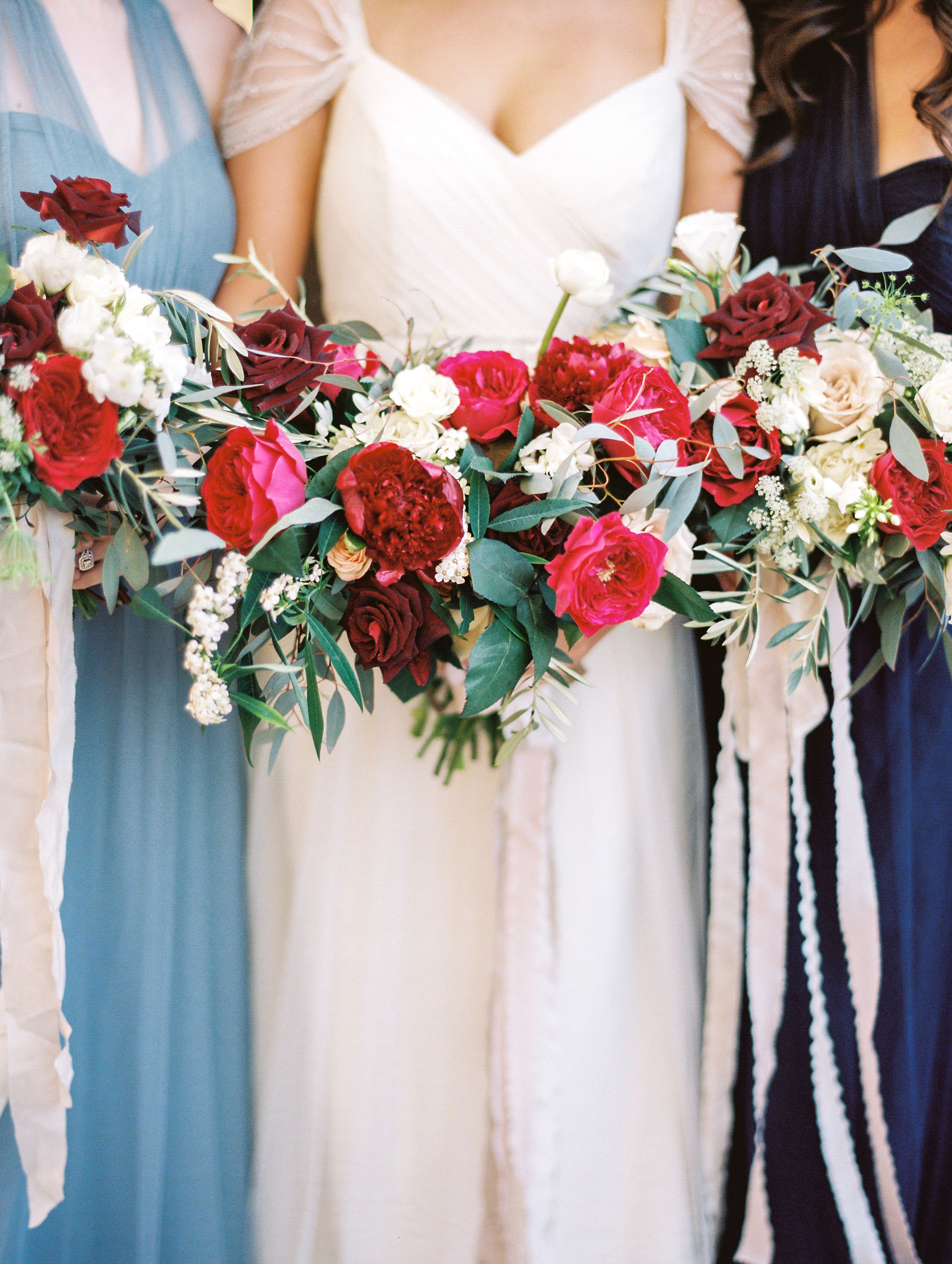 pink white bouquets