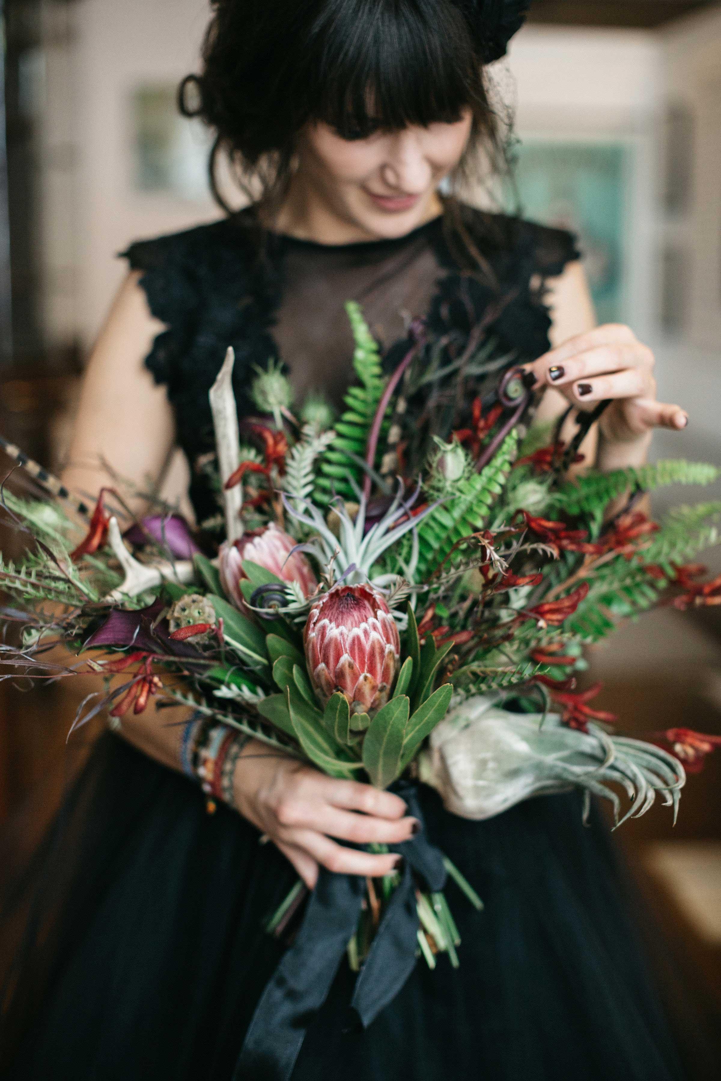 protea fern bouquet