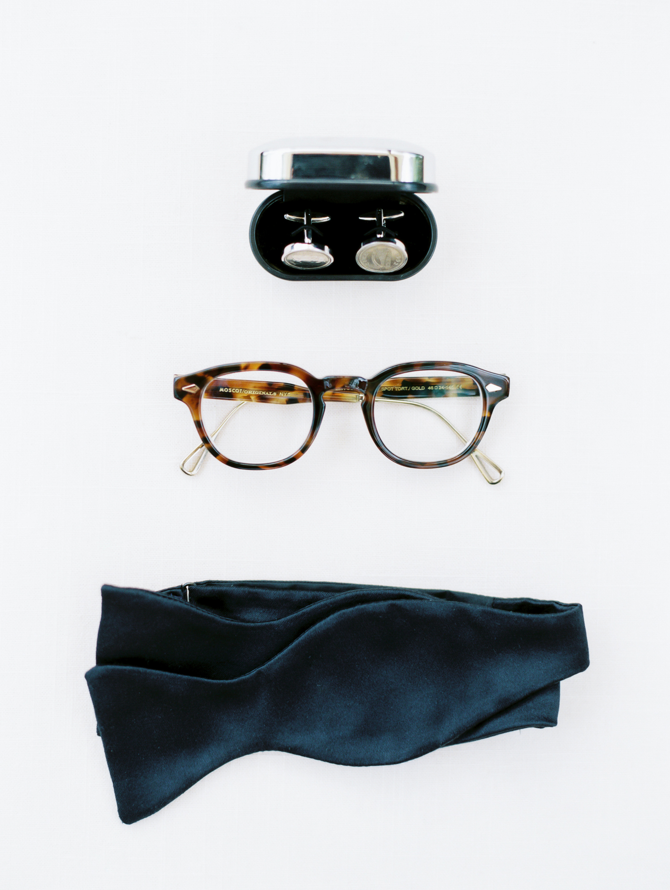 cool groom accessories cuff link glasses blue bow tie