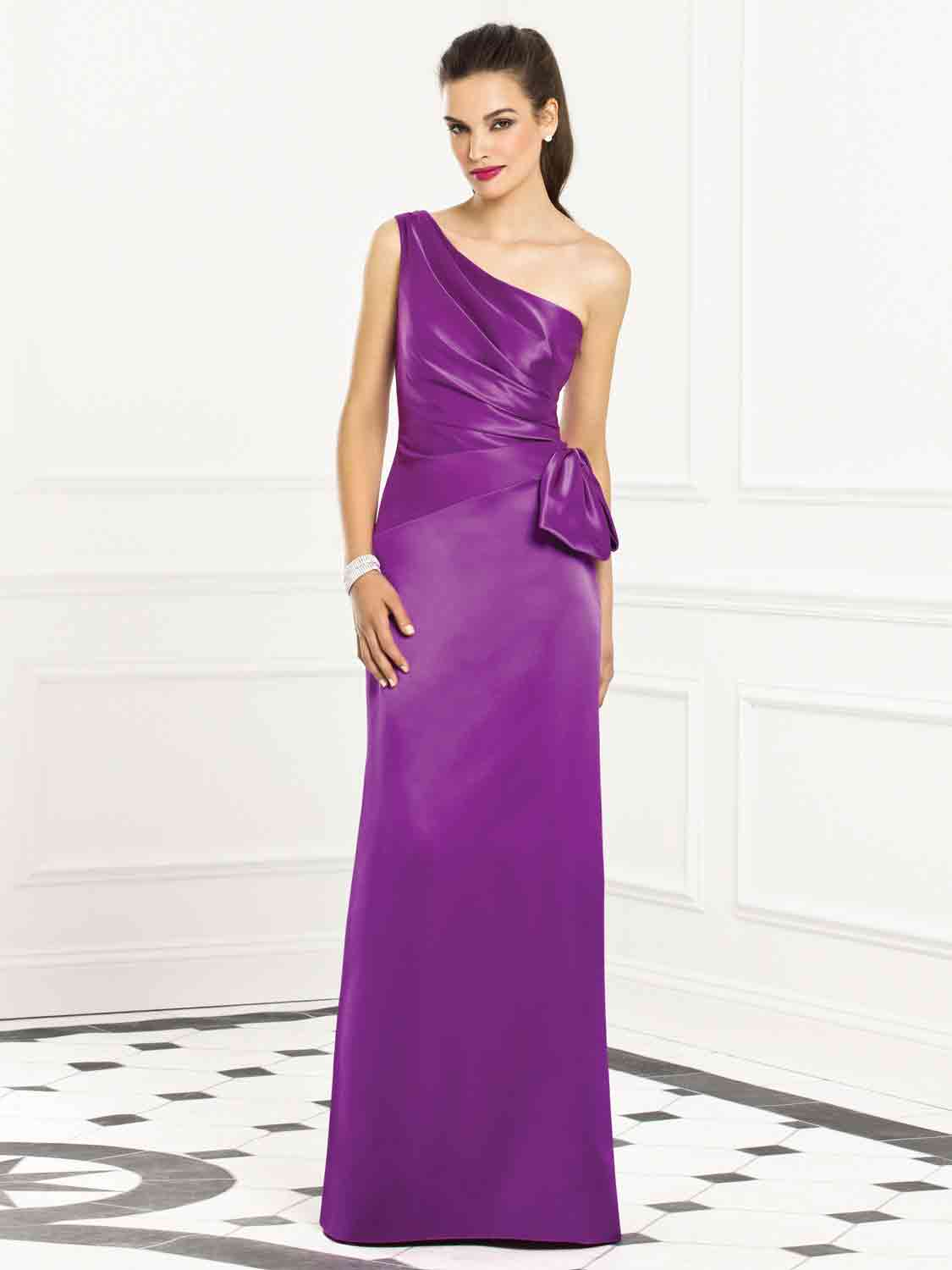 Purple One-Shoulder Bridesmaid Dress