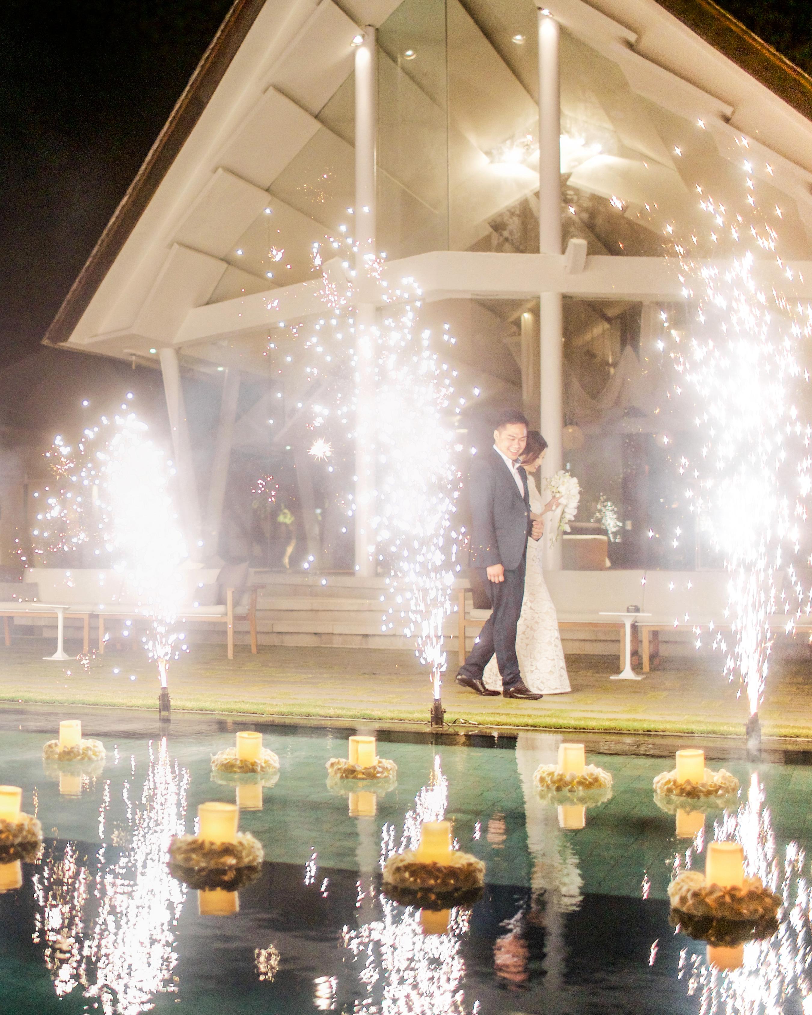wedding fireworks sparkler dazzling reflection