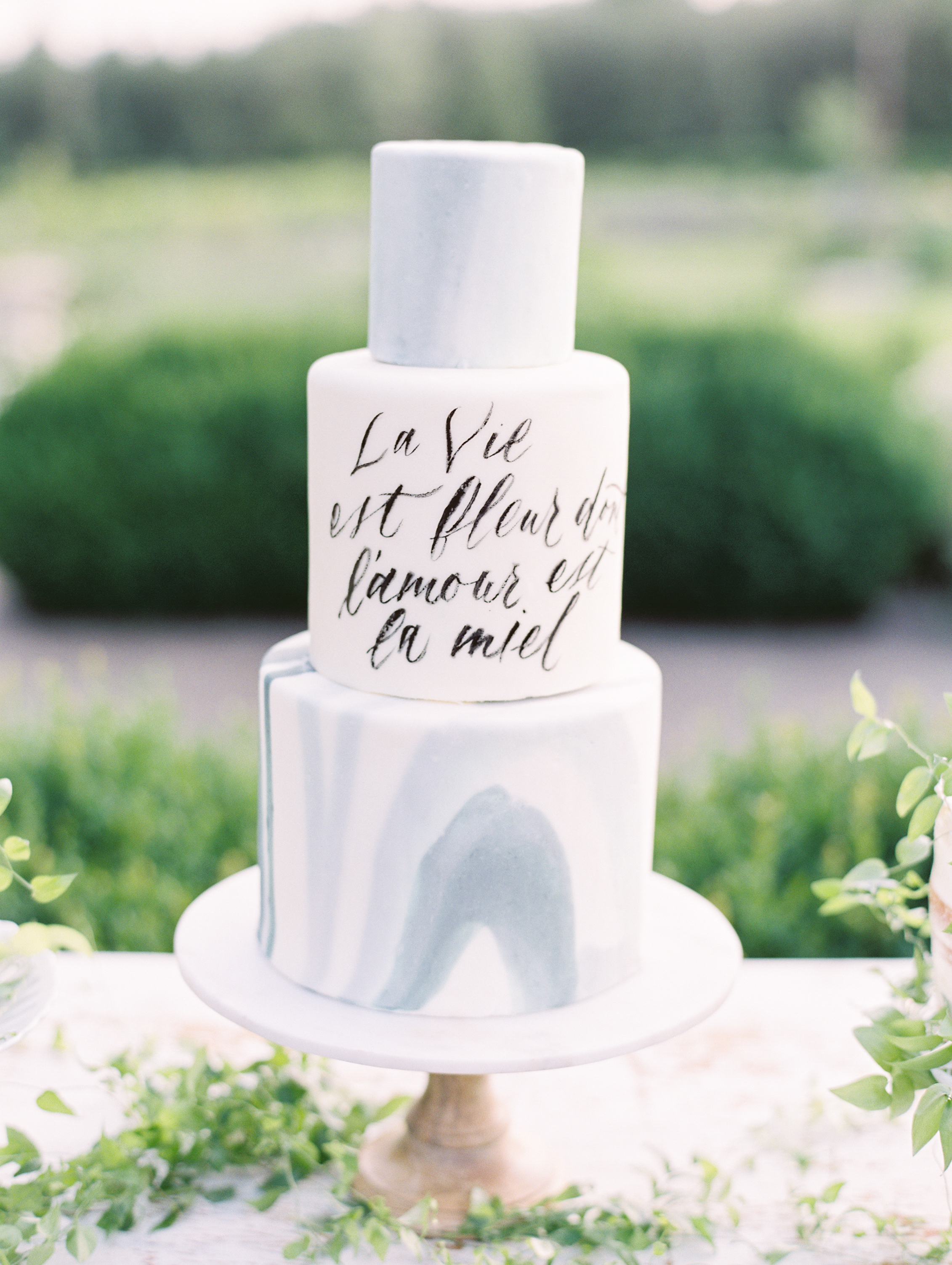 blue marbled cake with quote