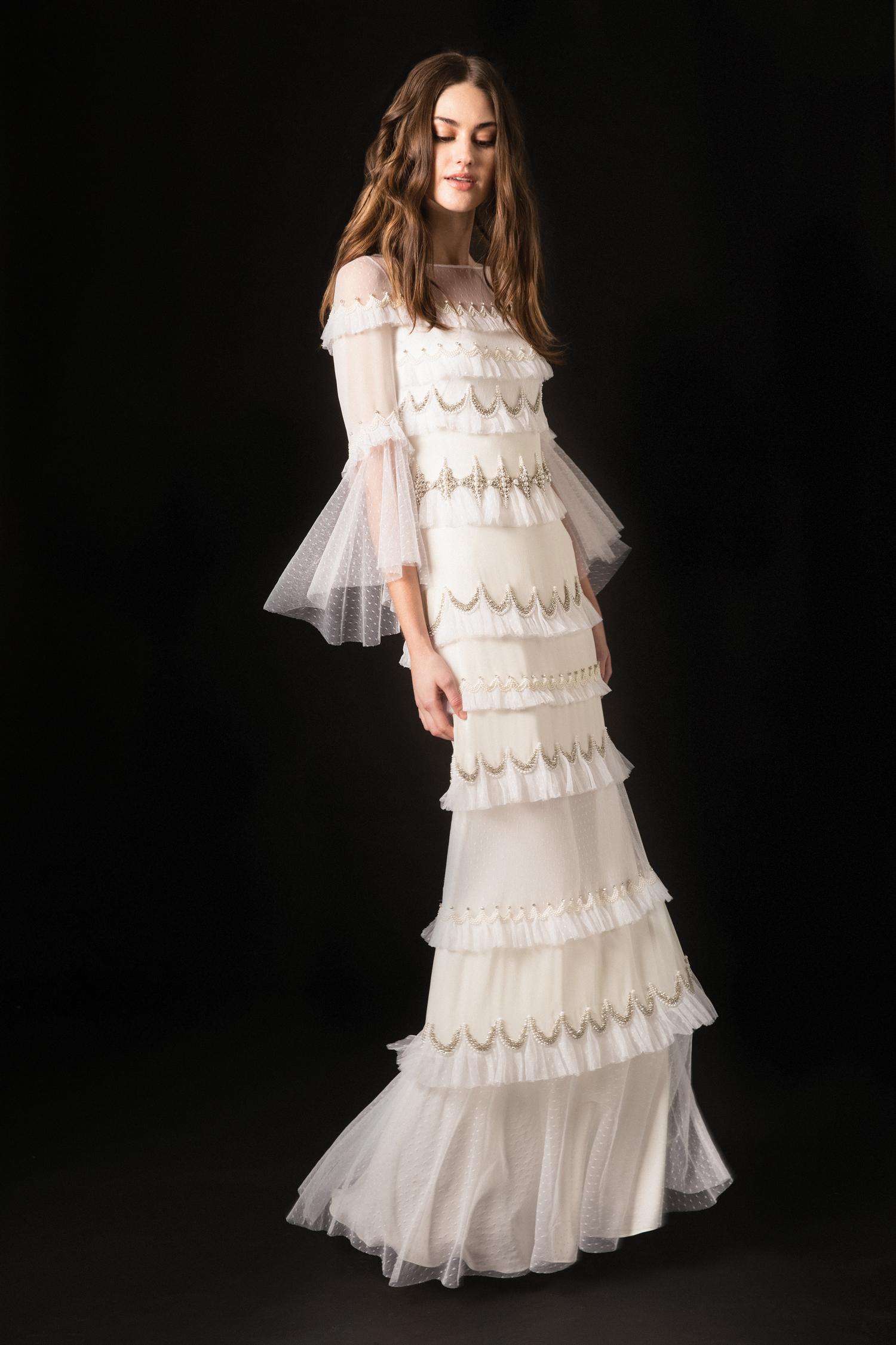 temperley three quarter flutter sleeves ruffled sheath wedding dress spring 2020