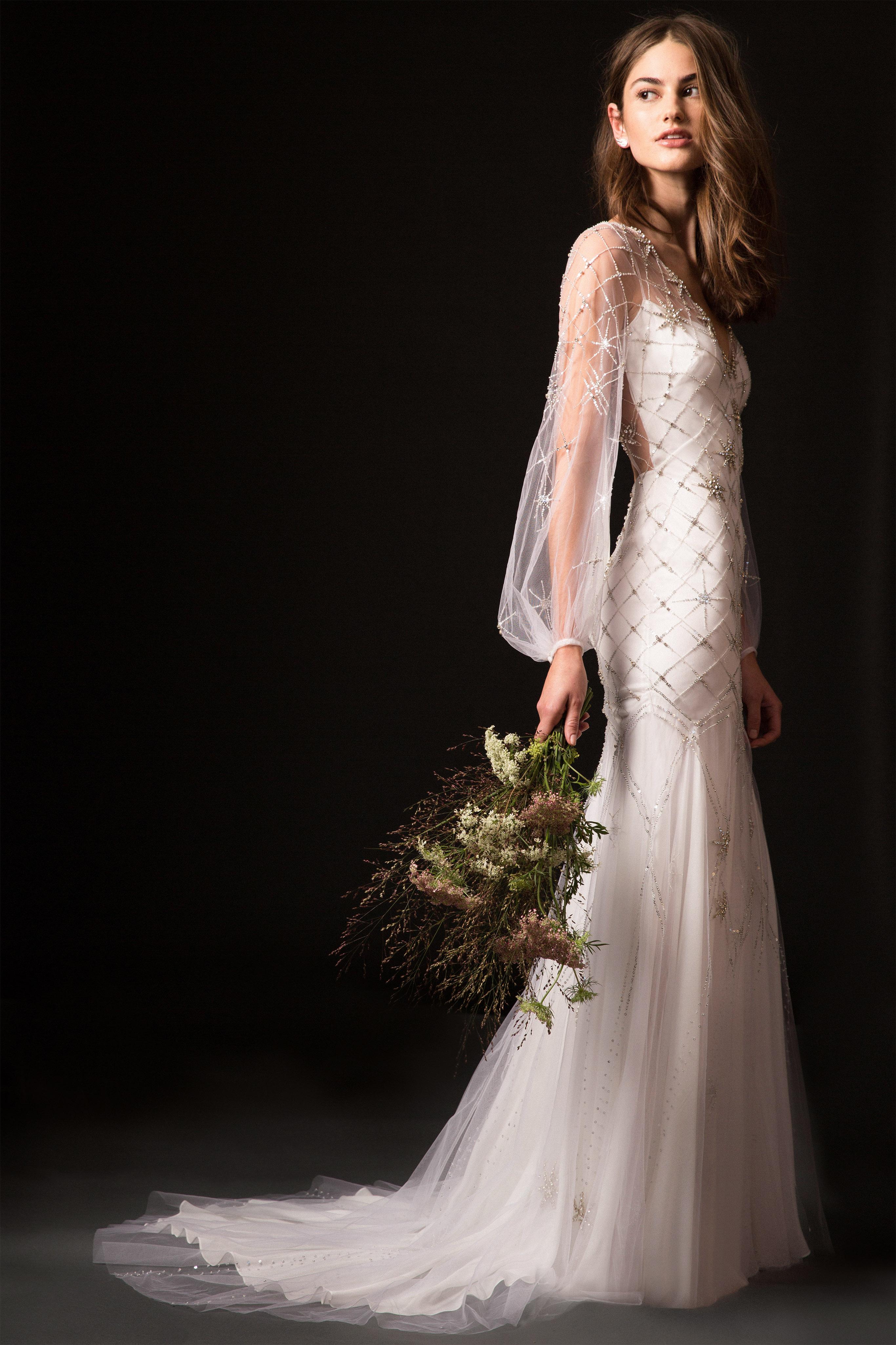temperley fall 2019 v-neck beaded trumpet wedding dress