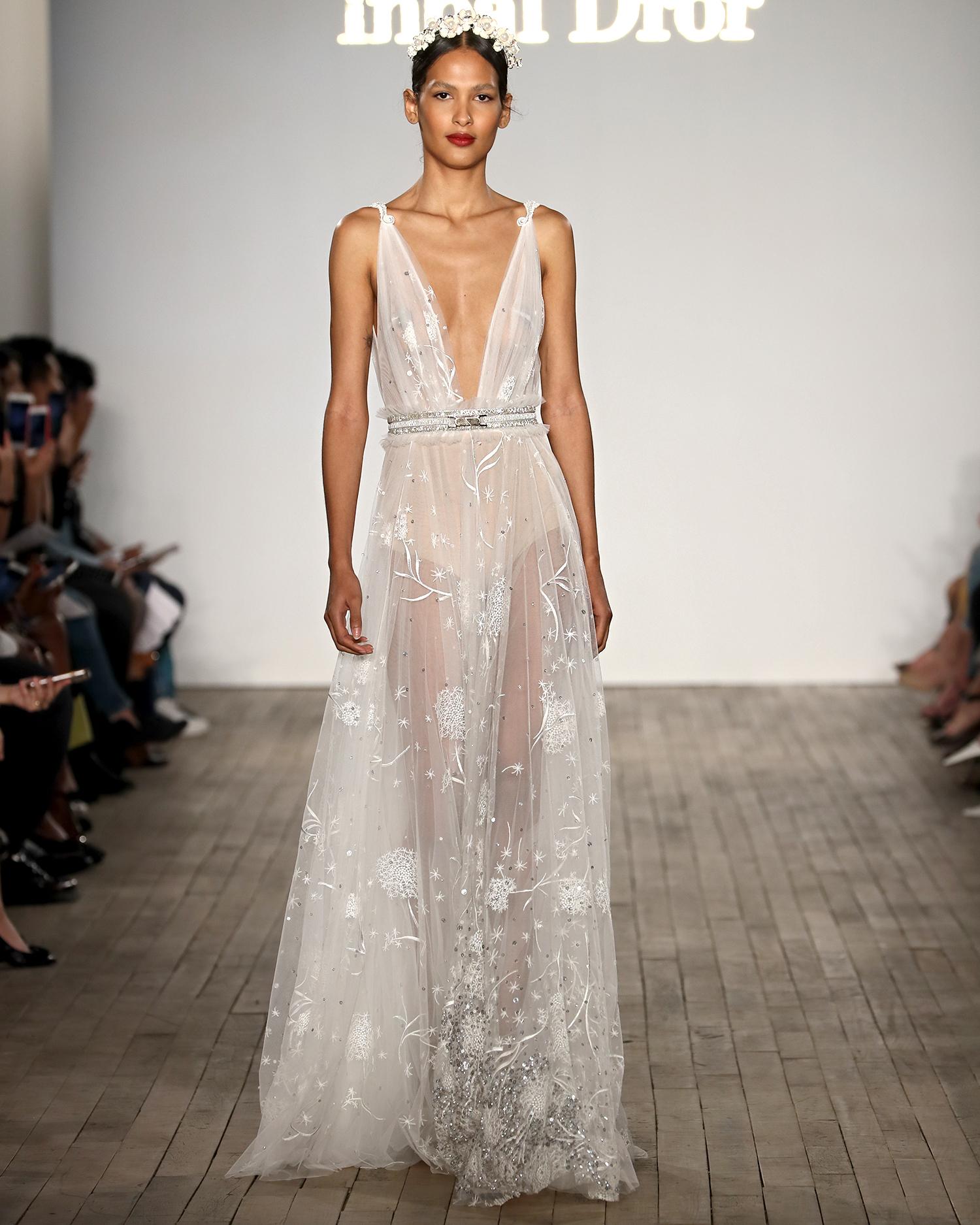 inbal dror wedding dress sheer beaded overlay with belt