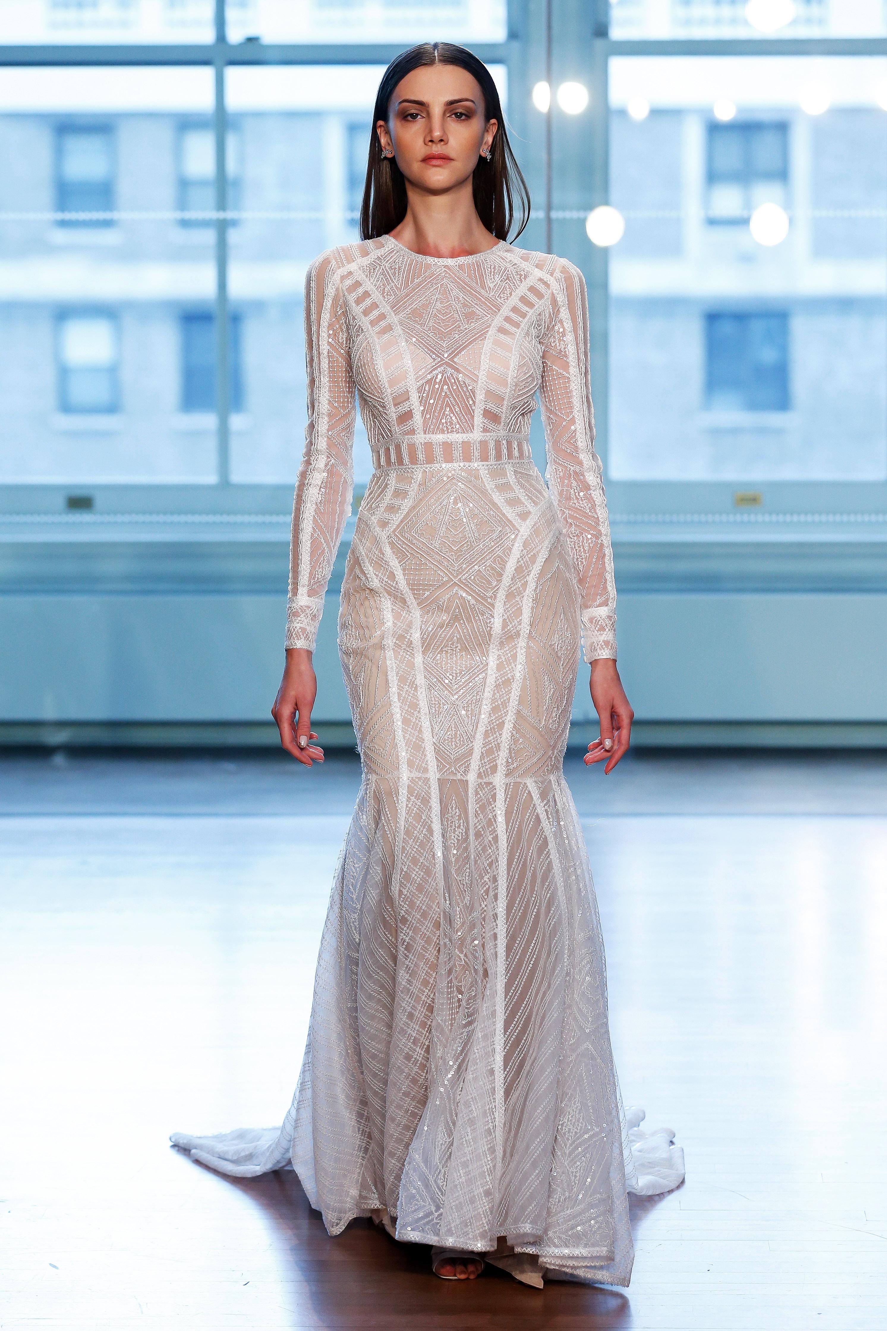 justin alexander wedding dress spring 2019 long sleeves sheer mermaid