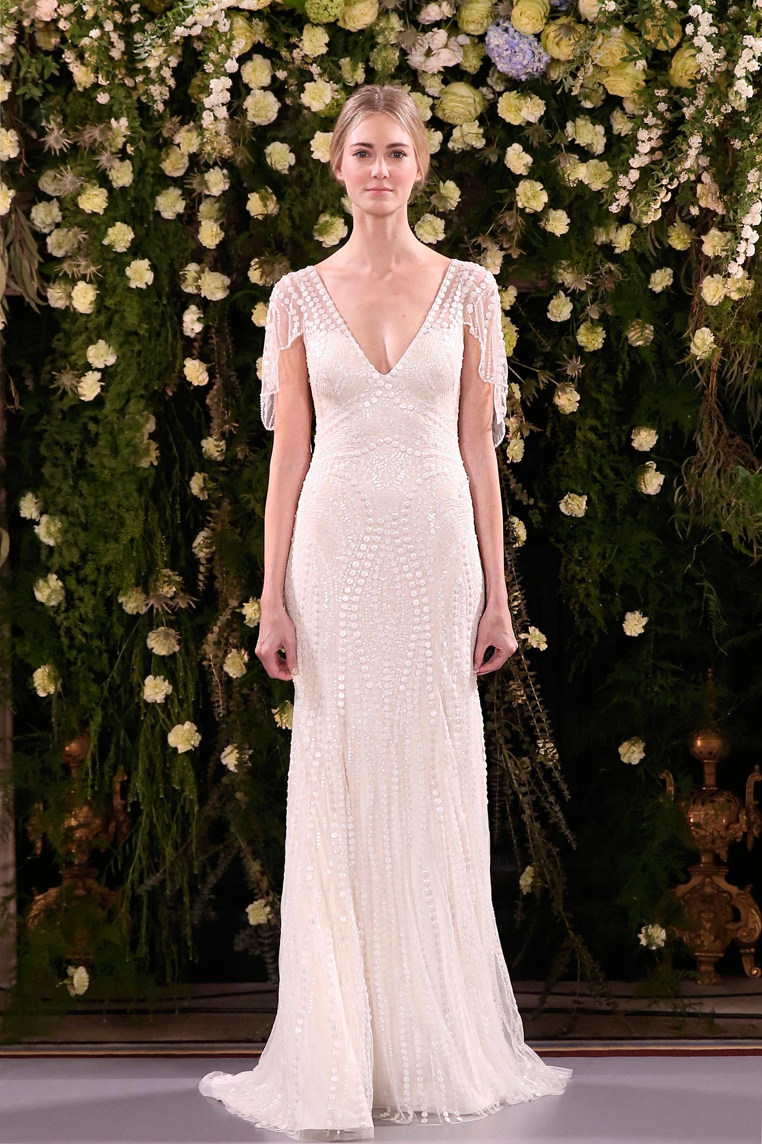 jenny packham wedding dress spring 2019 v-neck sleeve detail beadwork