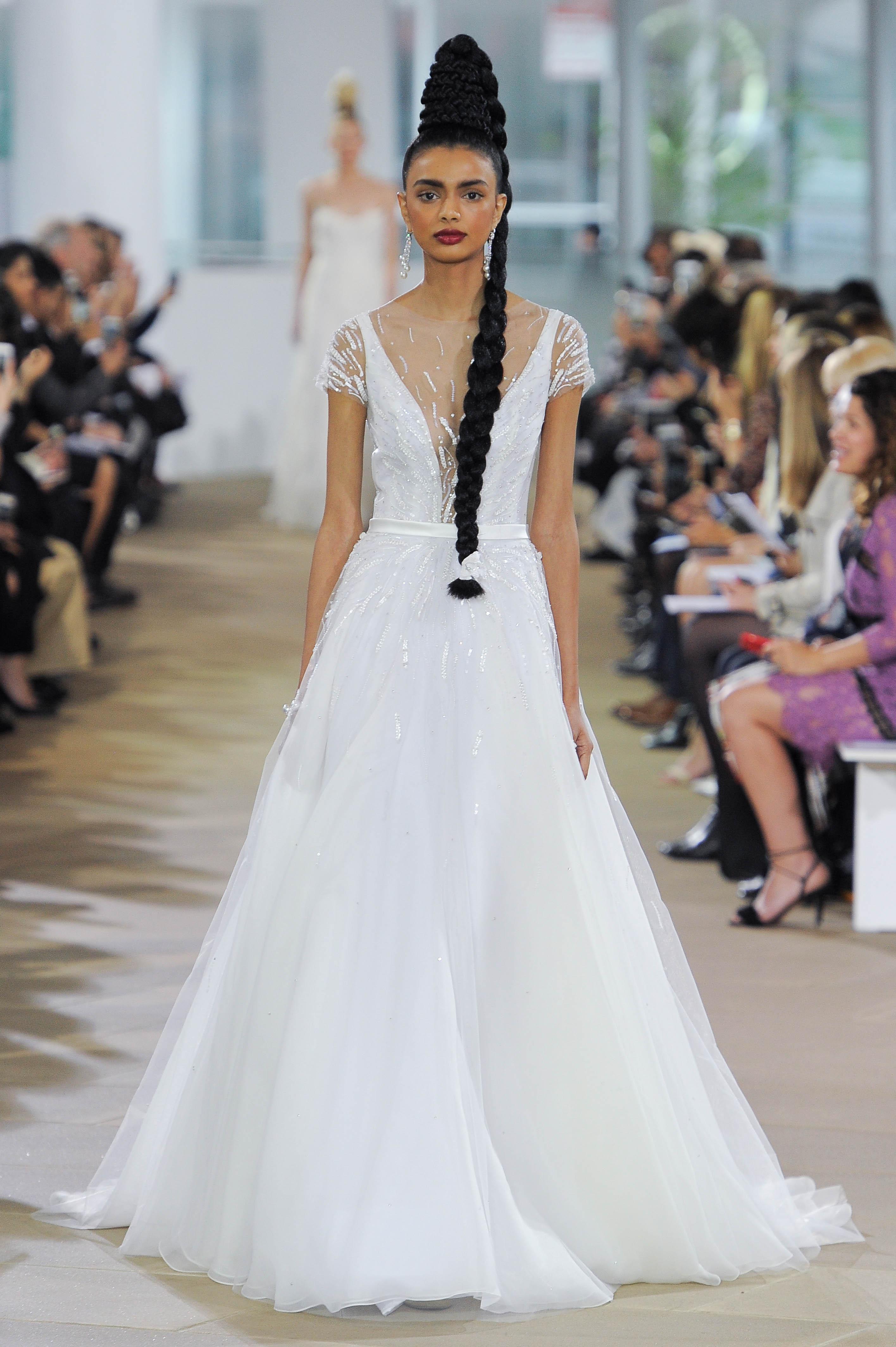Ines Di Santo Short Sleeve Wedding Dress with V-Neck Spring 2018