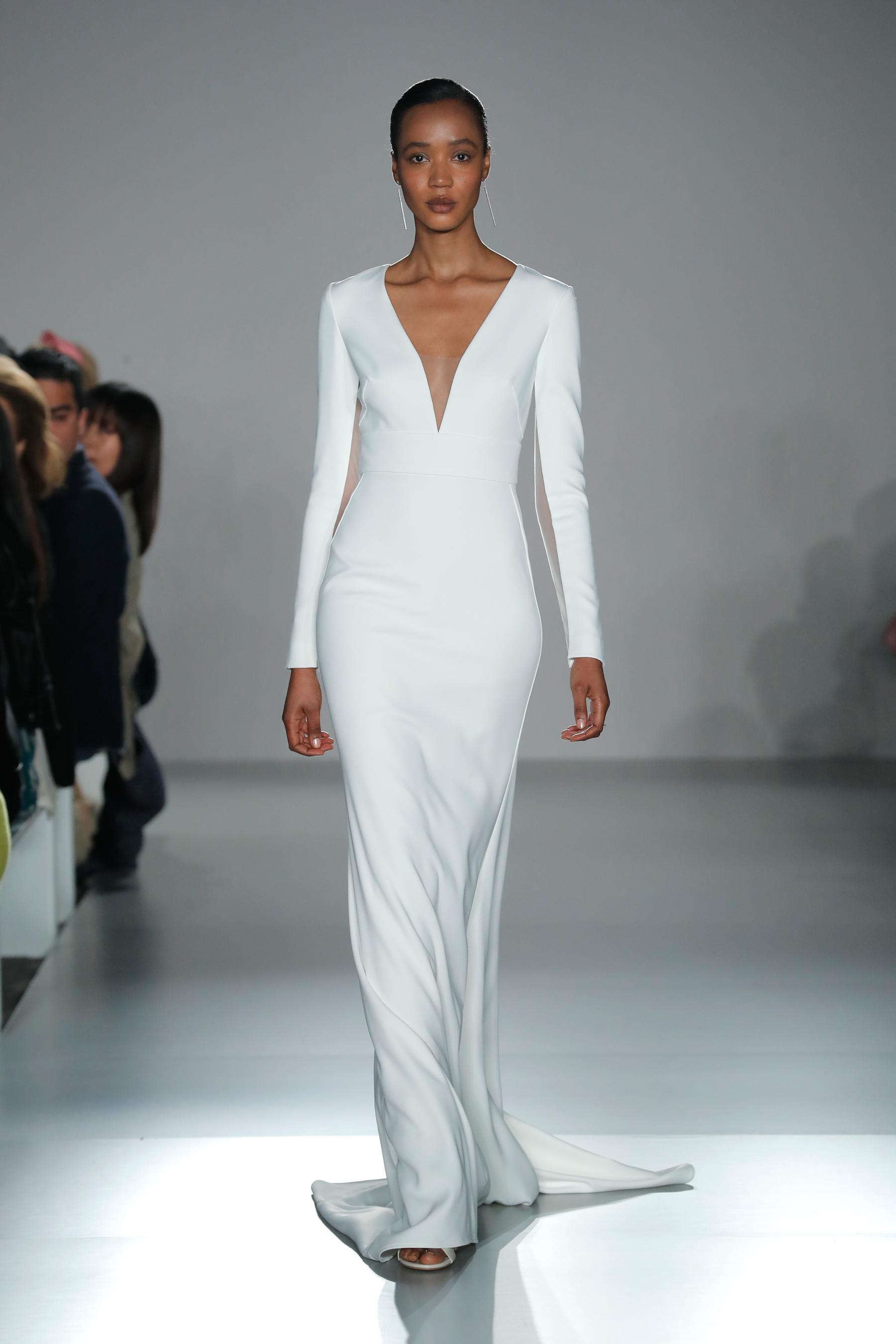 nouvelle amsale long sleeve v-neck sheath wedding dress spring 2020