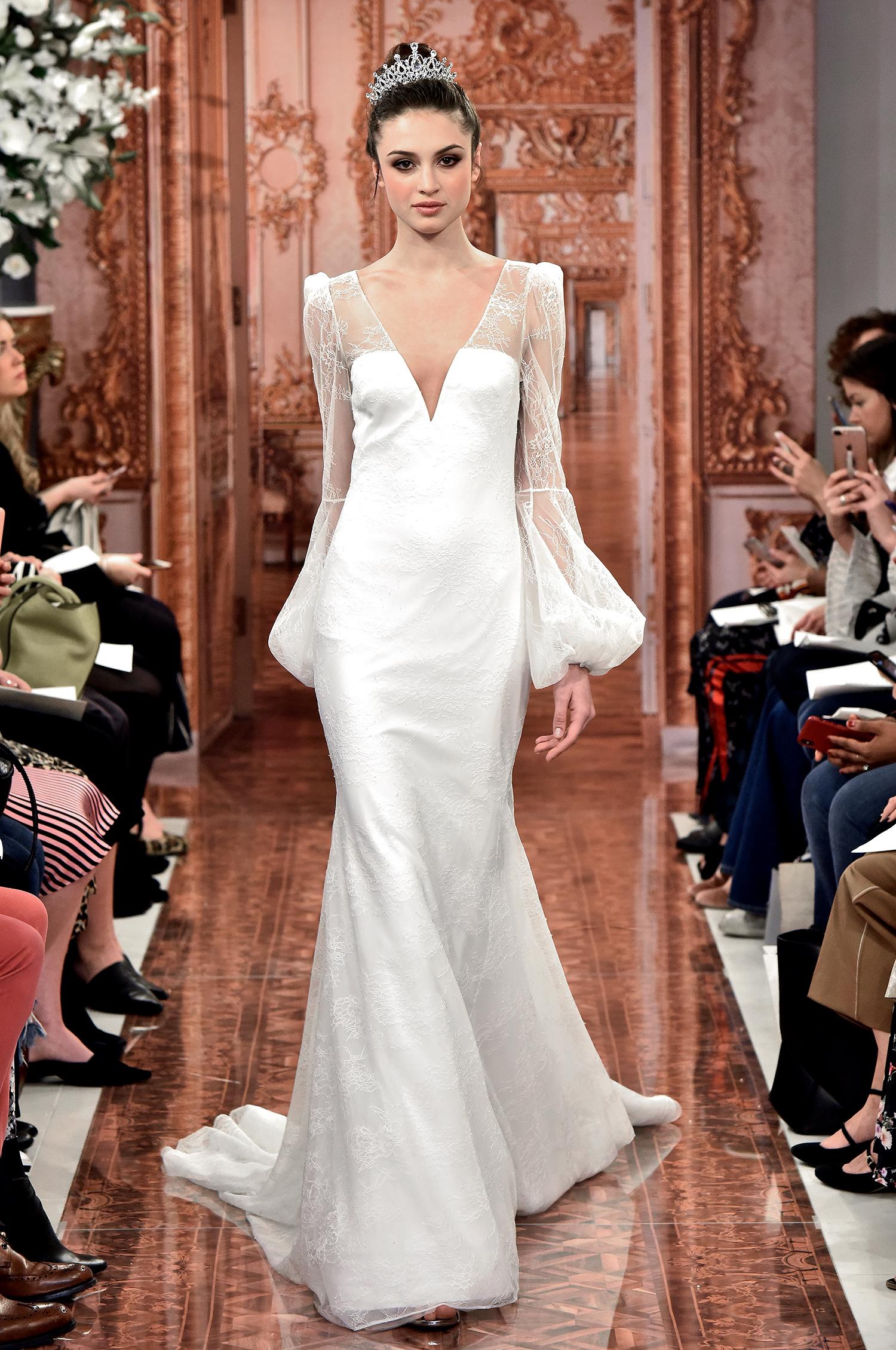 theia wedding dress spring 2019 bishop sleeve v-neck