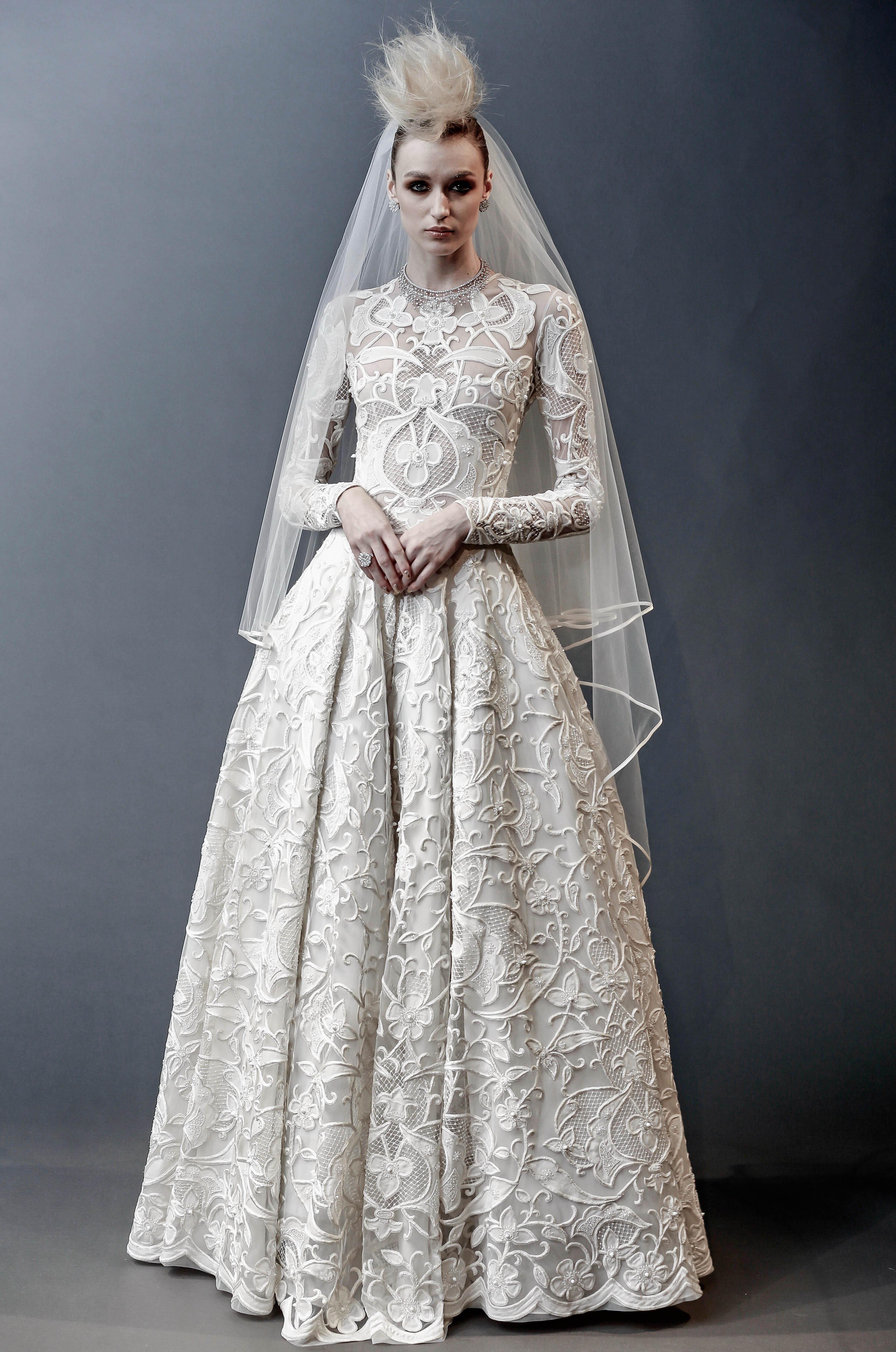 naeem khan long sleeves ball gown wedding dress spring 2019