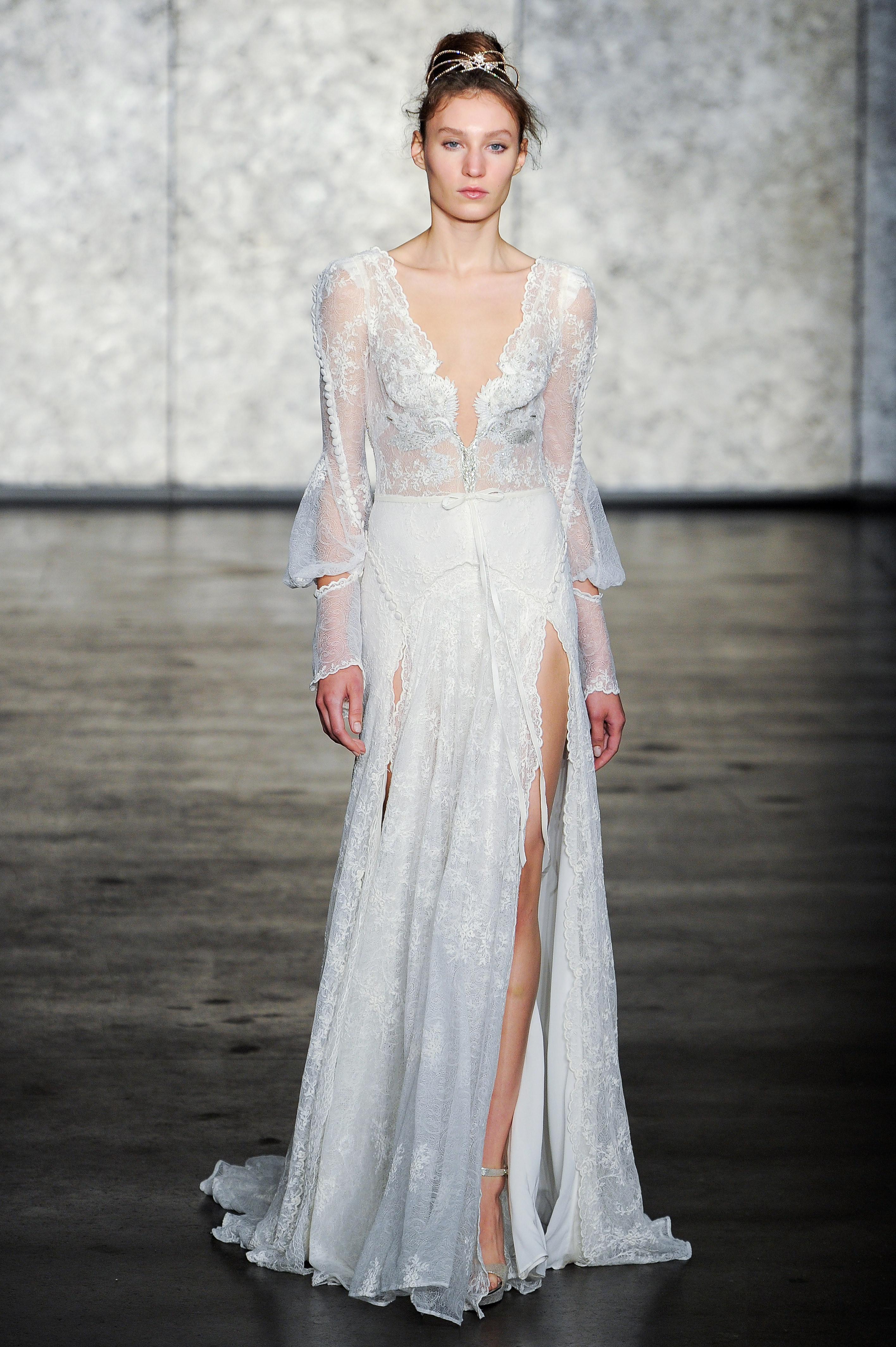 inbal dror fall 2018 lace long sleeve wedding dress