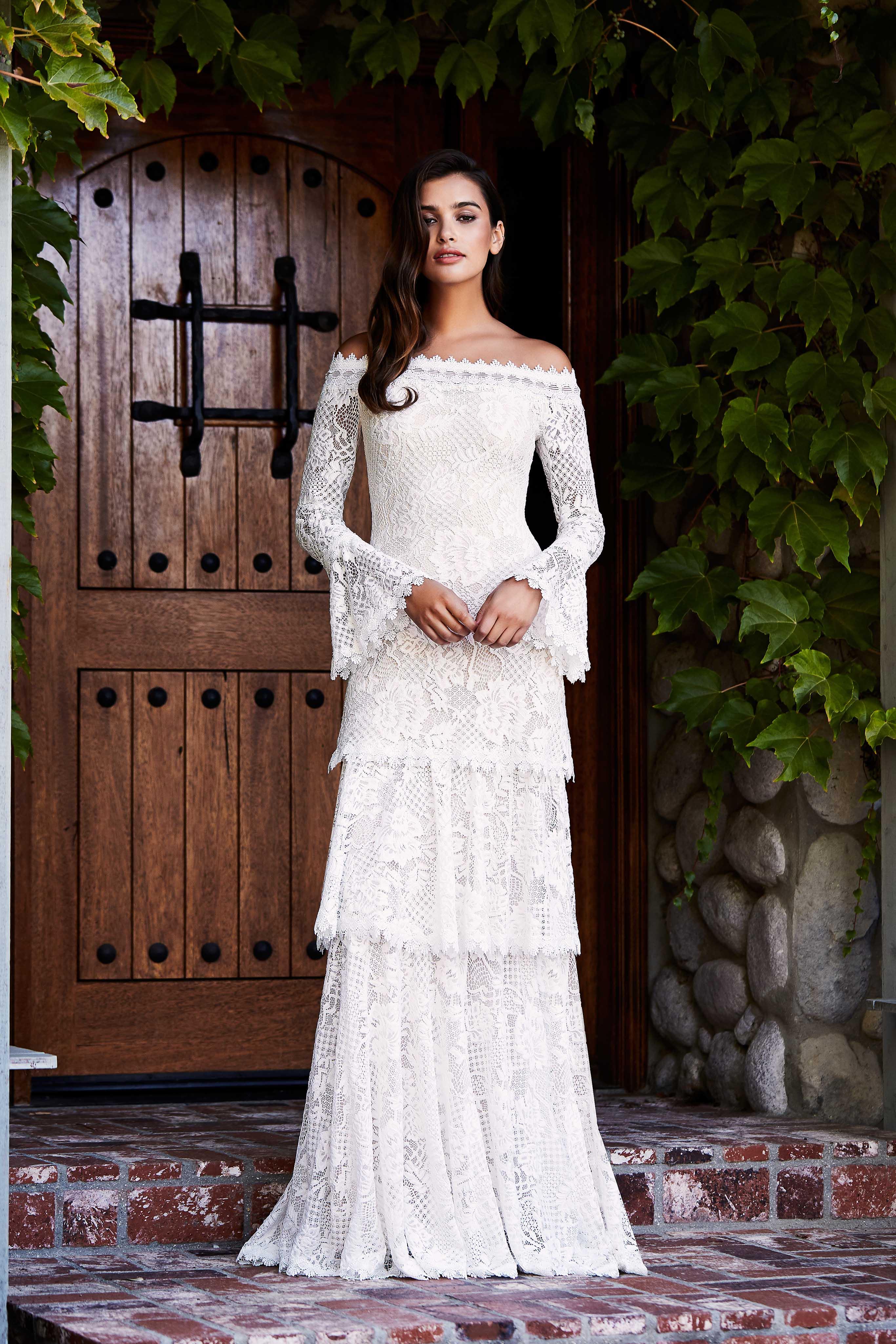tadashi shoji wedding dress fall 2018 tiered lace off the shoulder