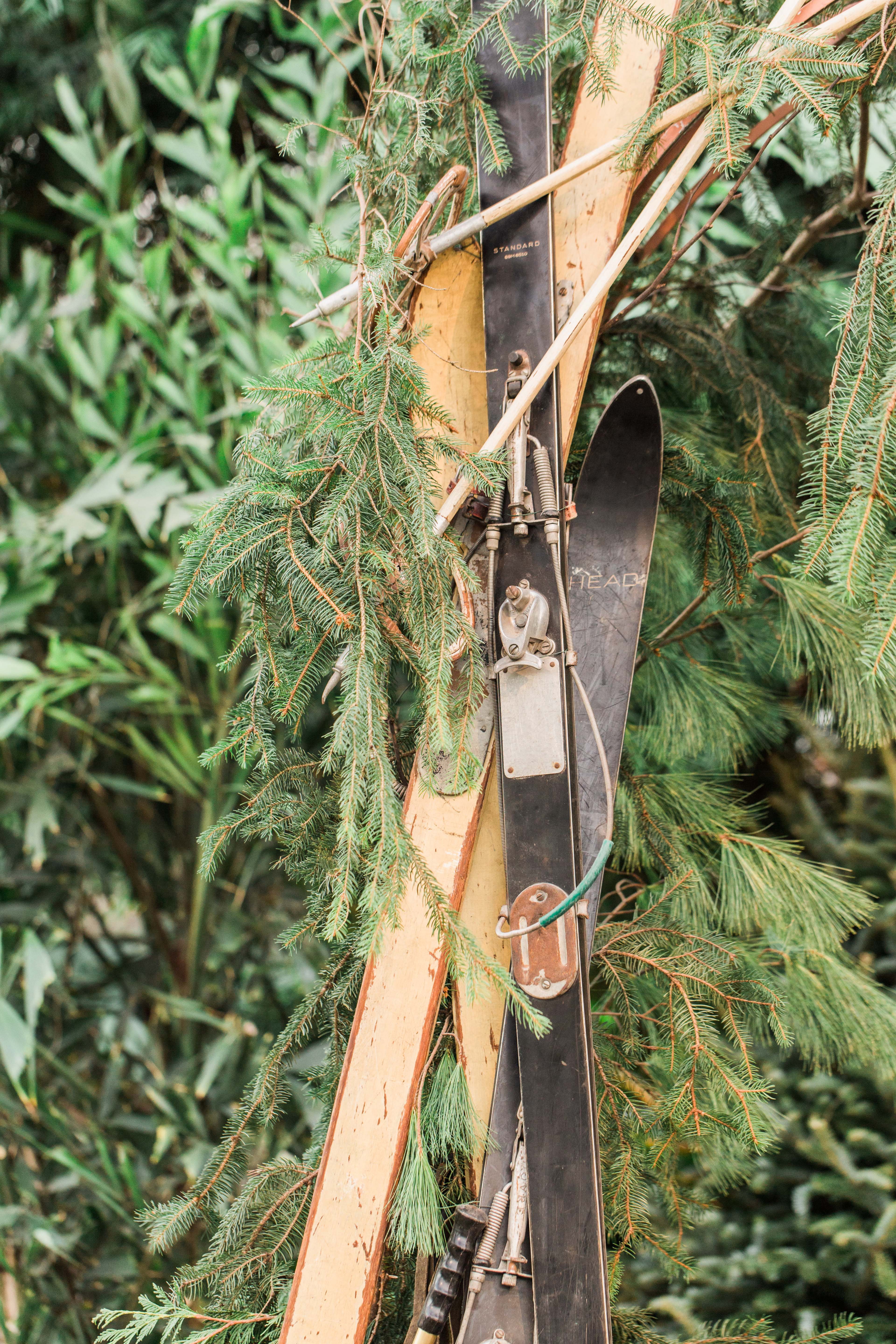 antique skis with greenery ceremony arch