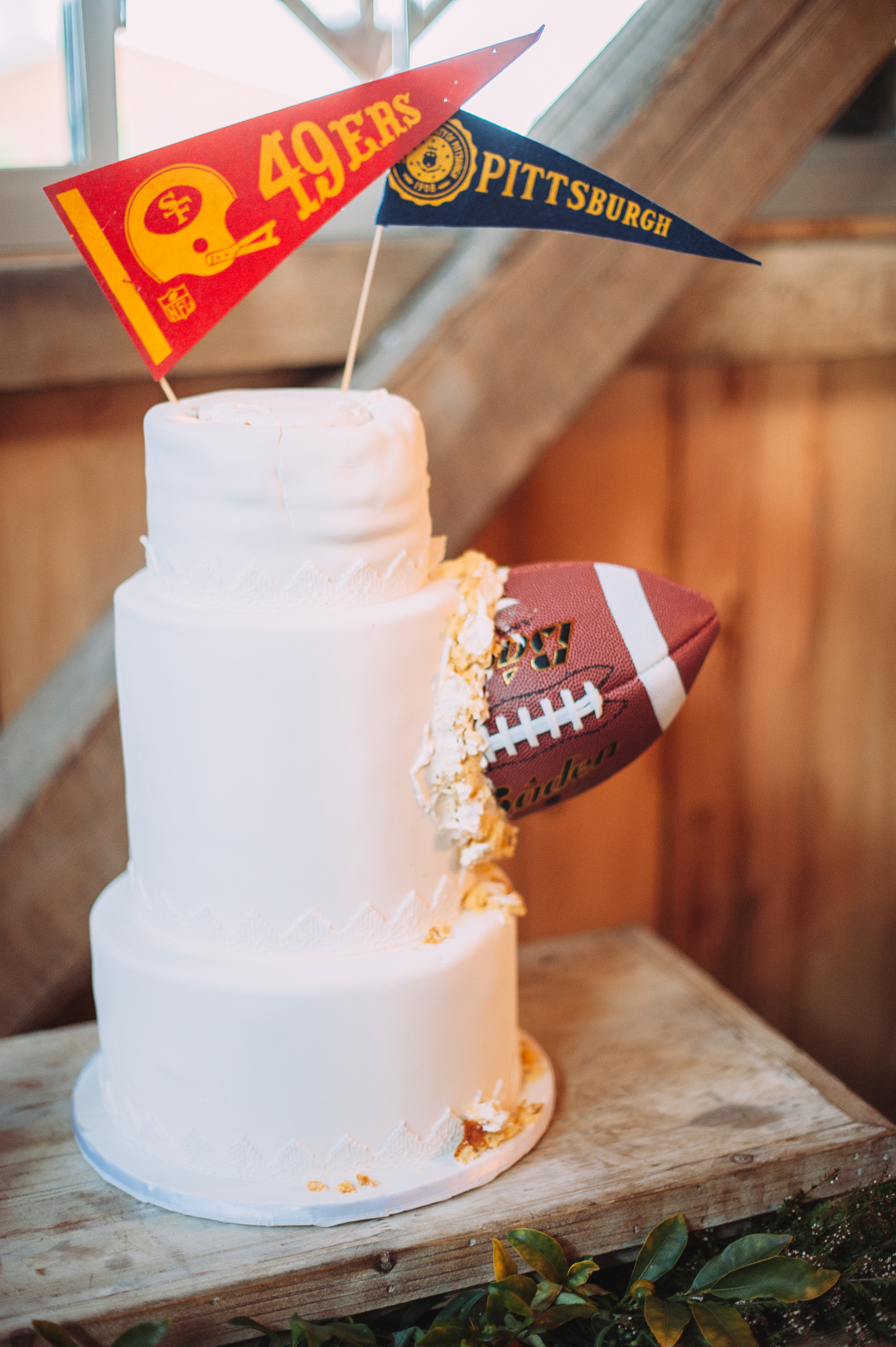 football in cake with pennant topper