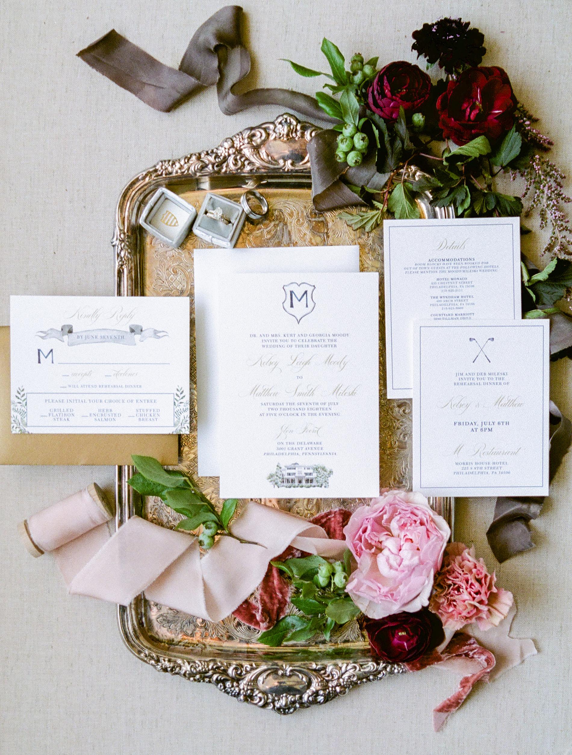 white vintage invite with monogram