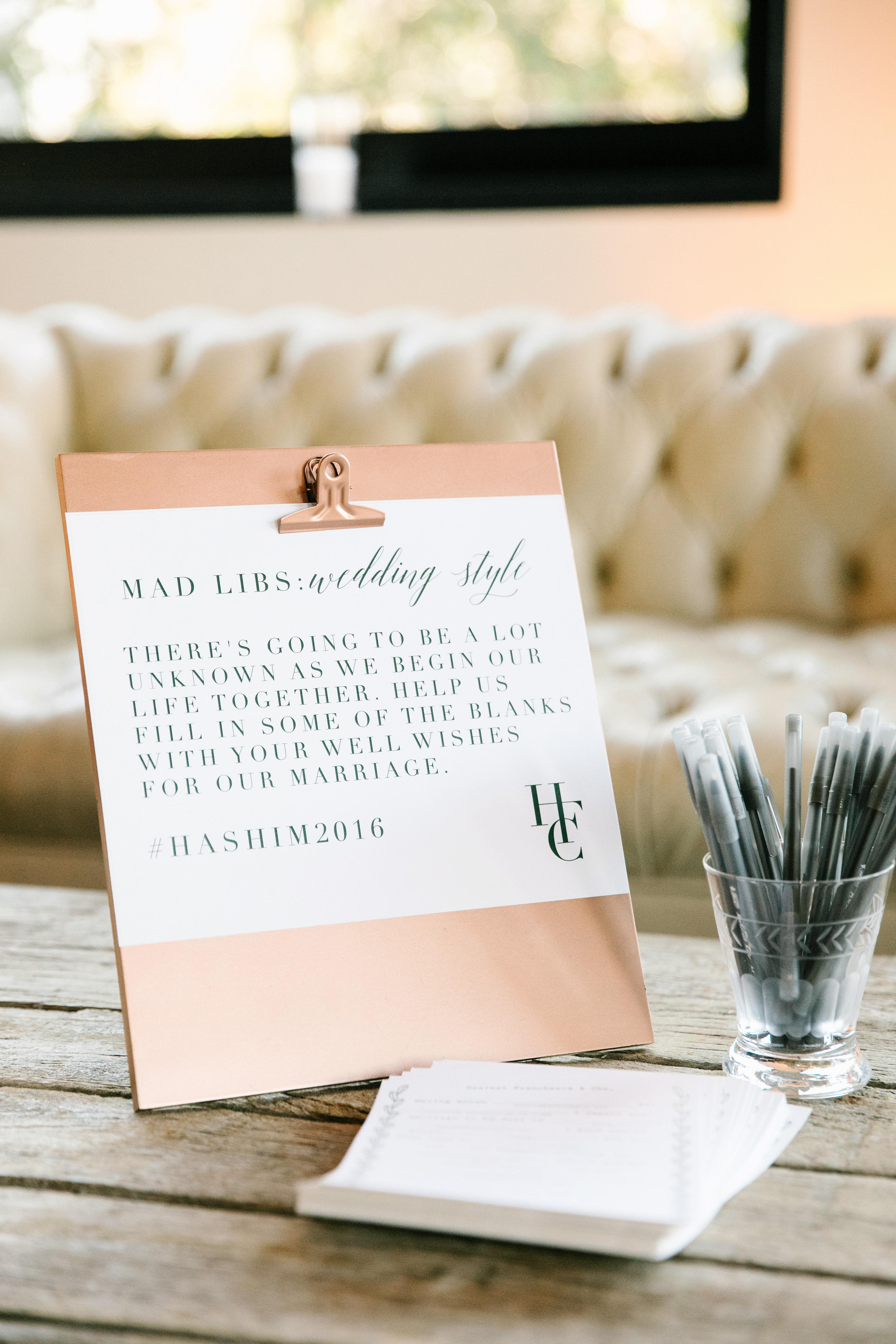 wedding mad libs advice cards clipboard pens