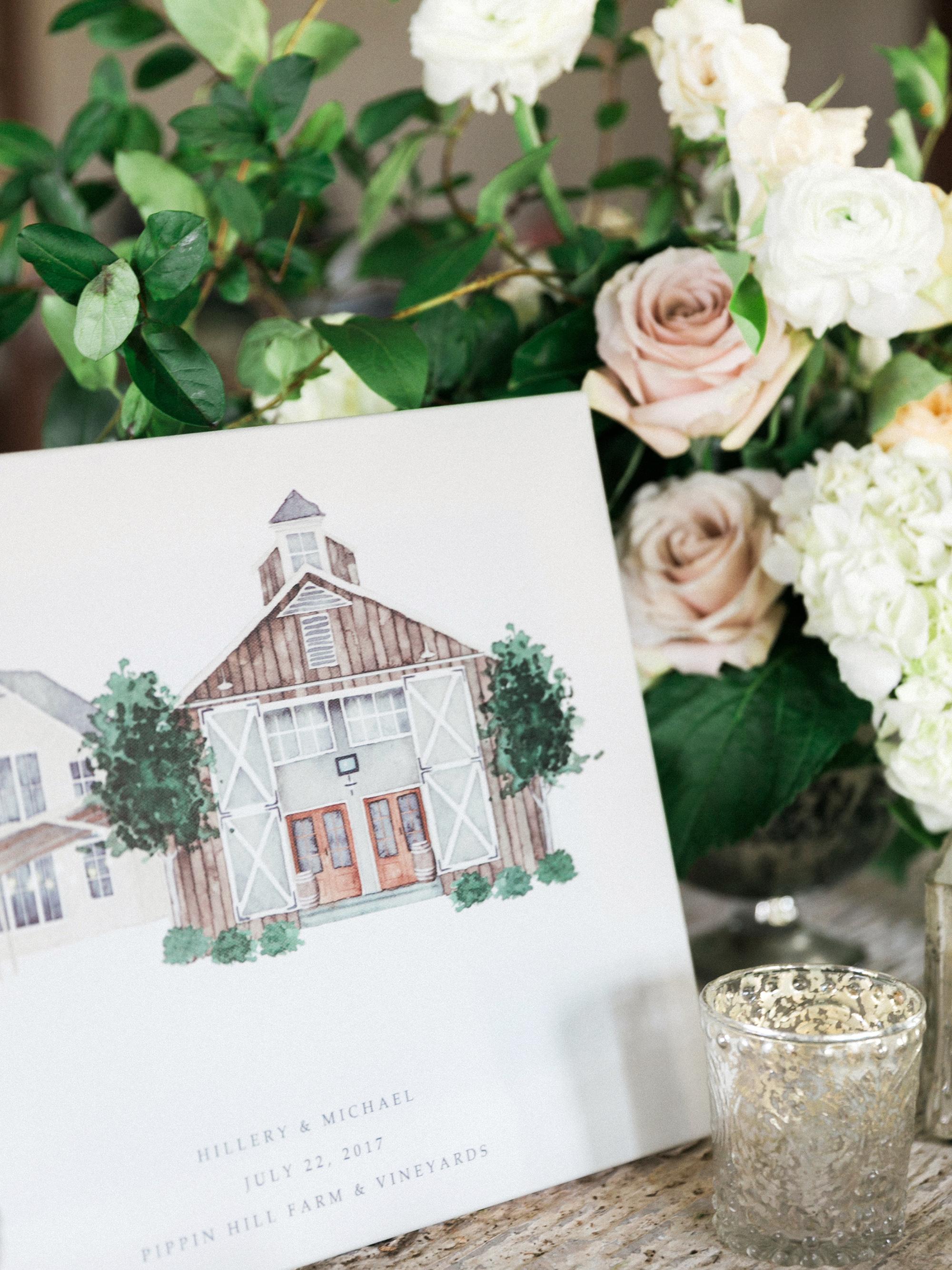 wedding illustrated barn venue signage flowers candle