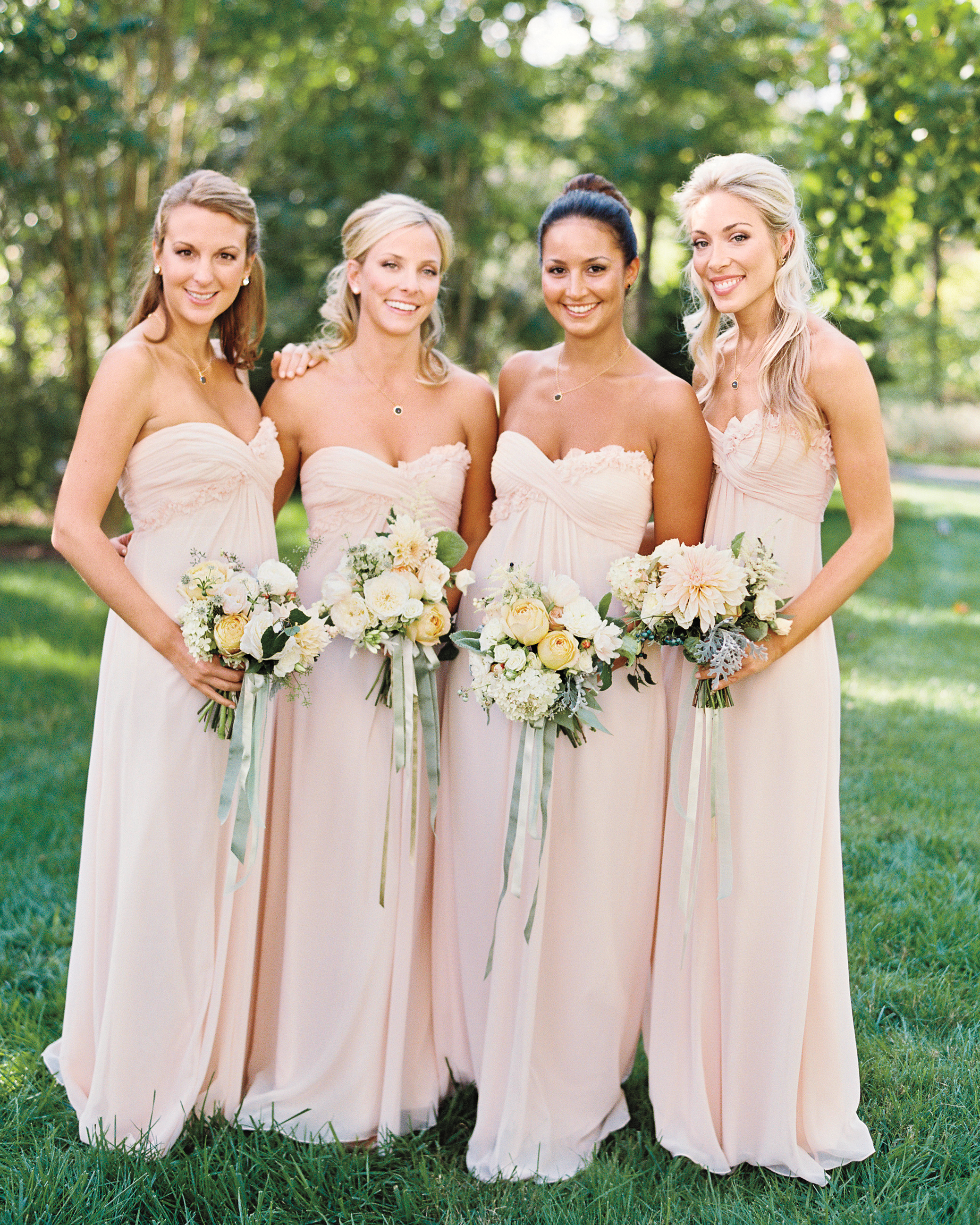 … And Dressed Their Bridesmaids in Blush