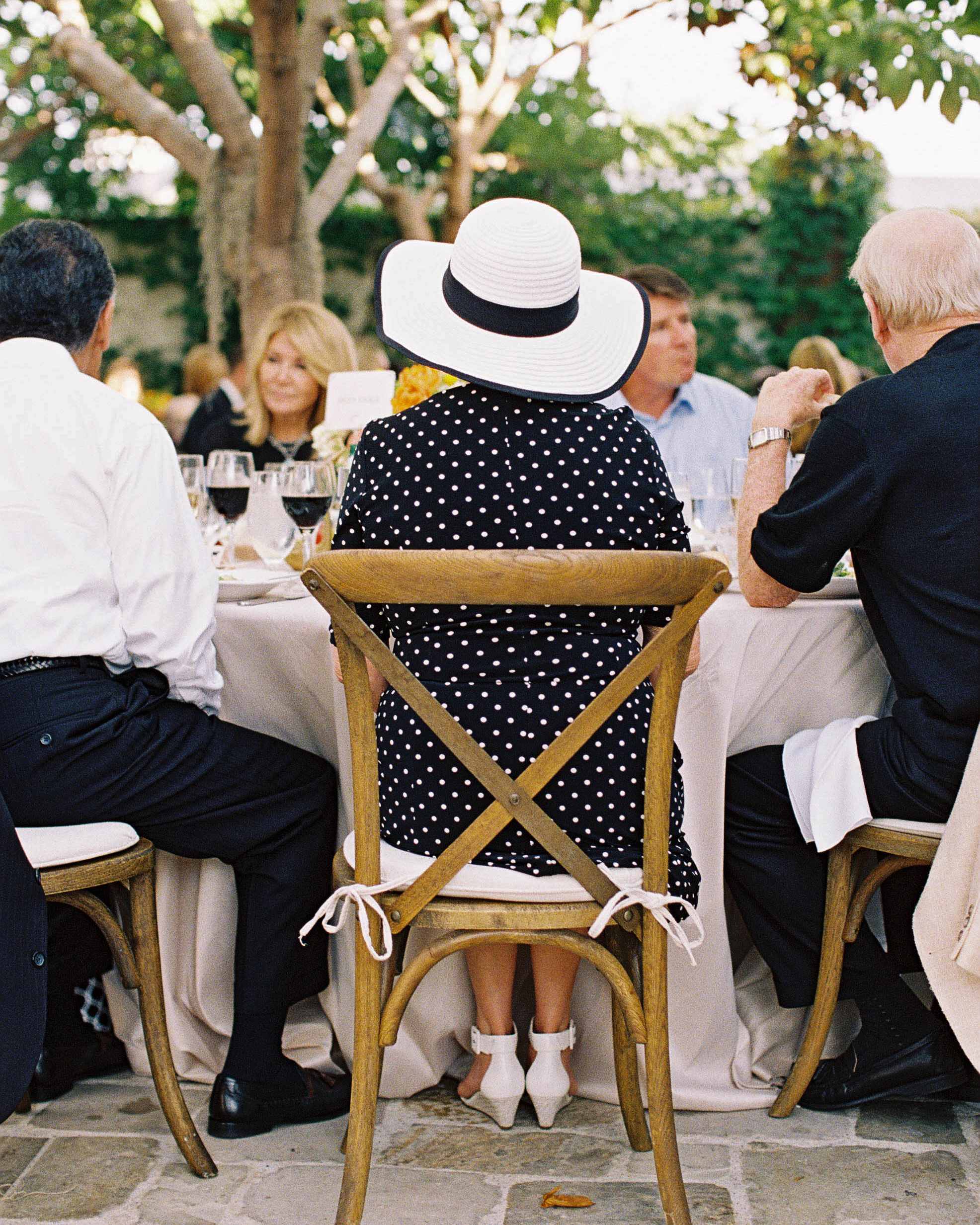 summer wedding guests polk dot black and white