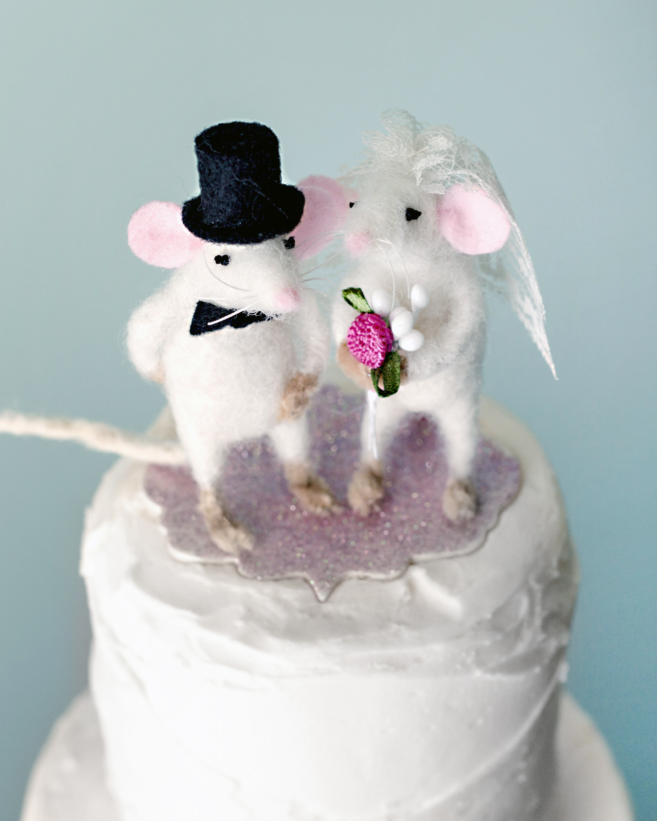 Felted Mice Wedding Cake Topper