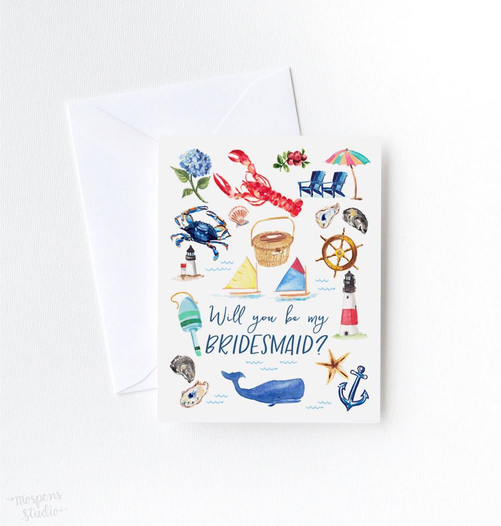 be my bridesmaid nautical illustration card