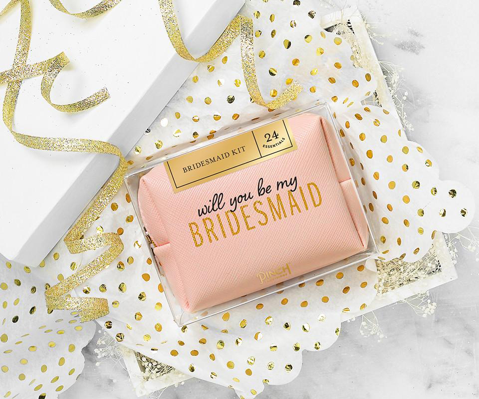 be my bridesmaid pink pouch with accessories
