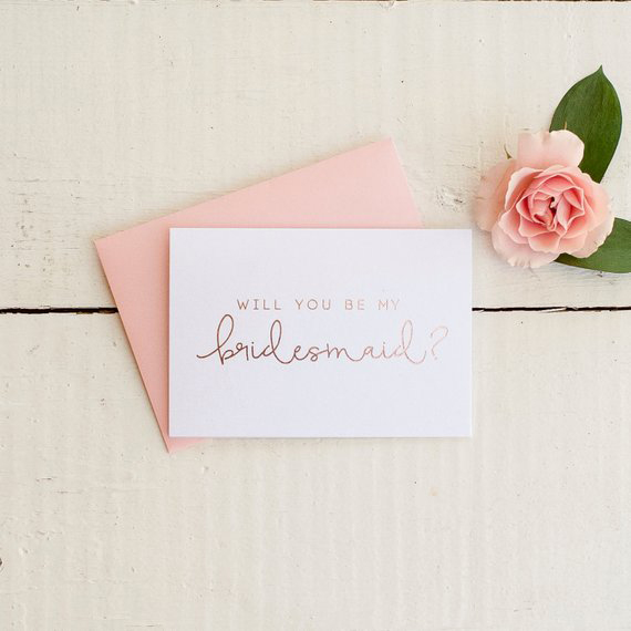 be my bridesmaid rose gold card