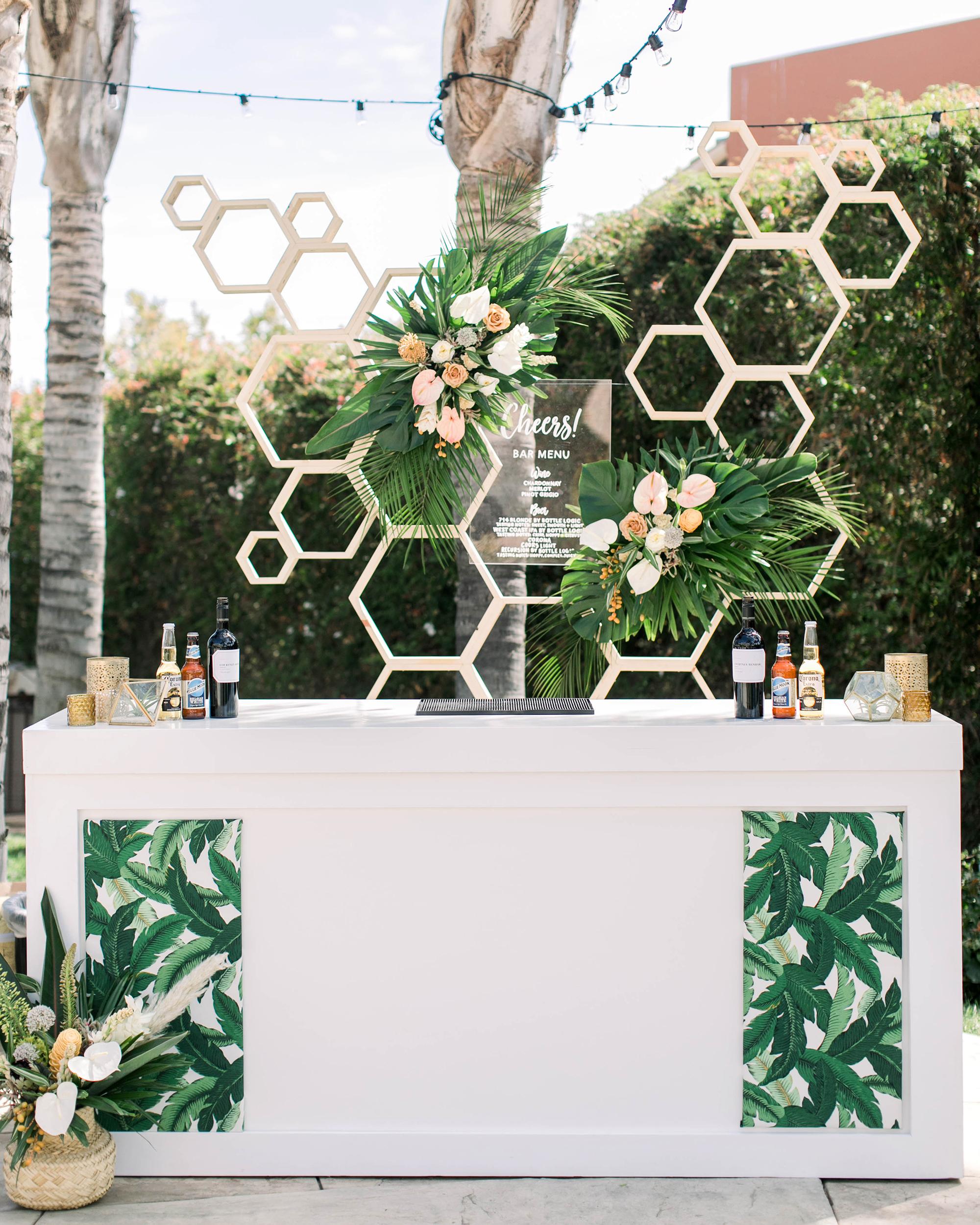 tropical wedding palm leaf tiki bar