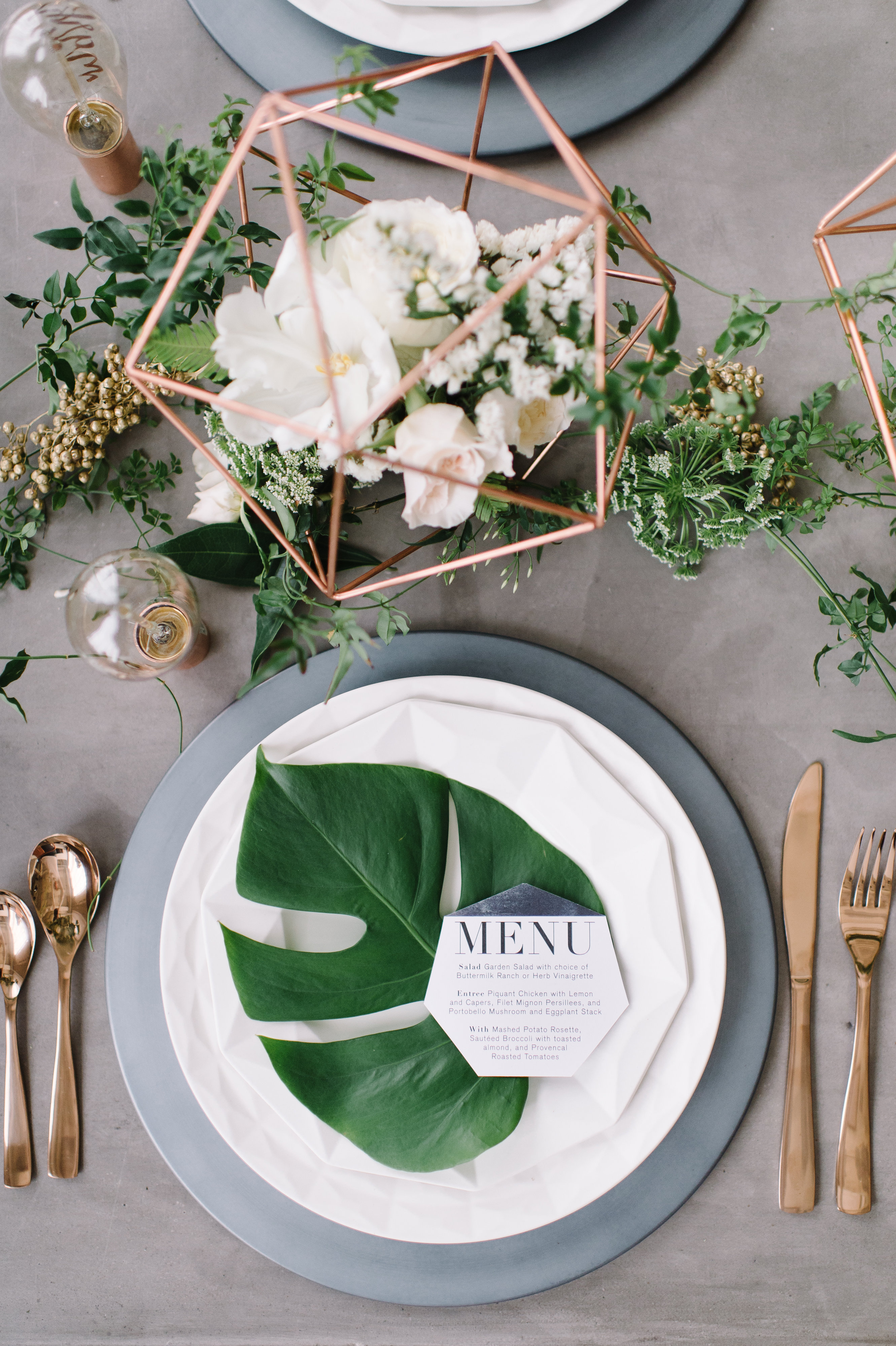 Place Setting with Tropical Palm Leaf on Plate