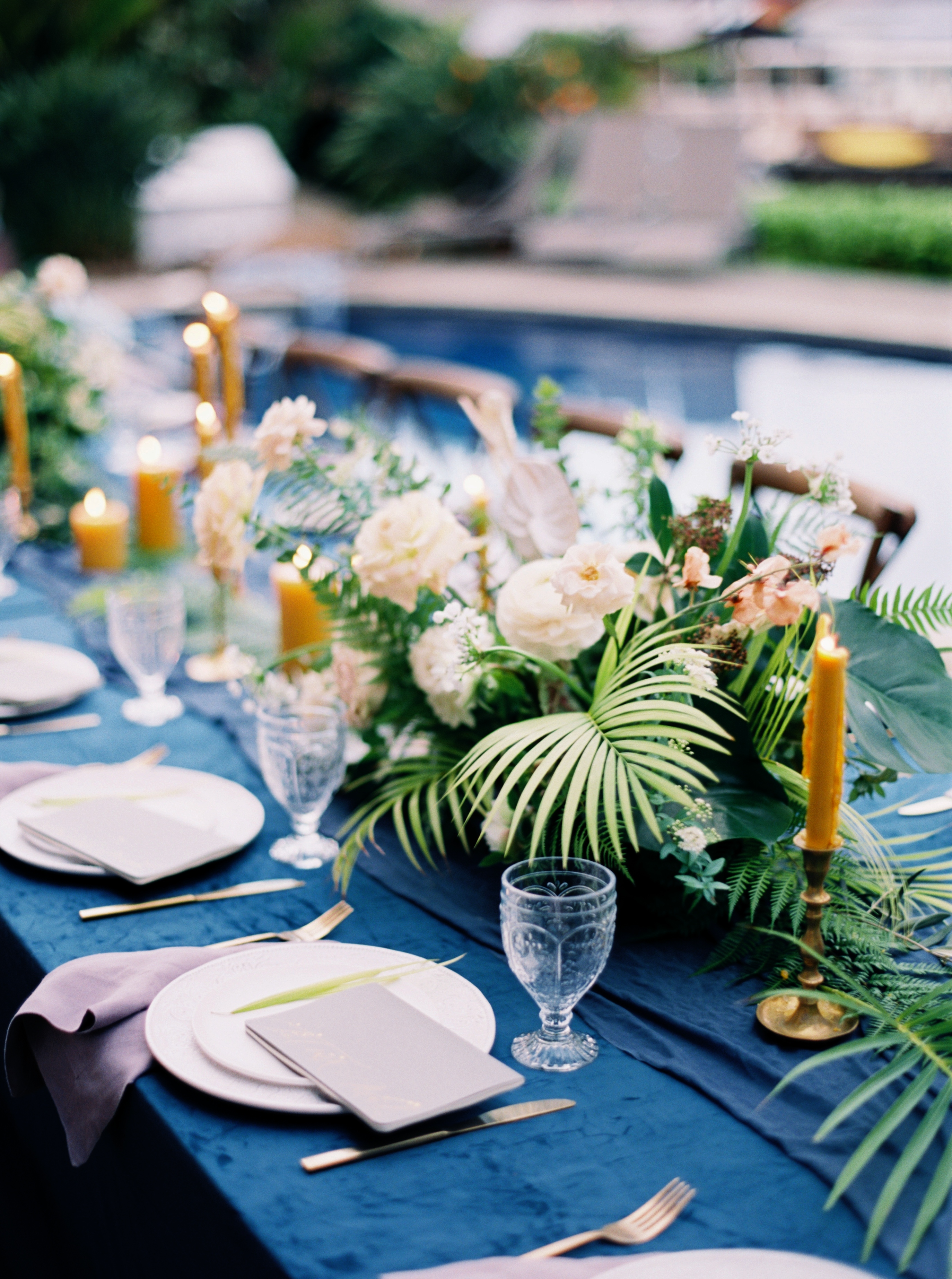 Centerpieces with Tropical Palms
