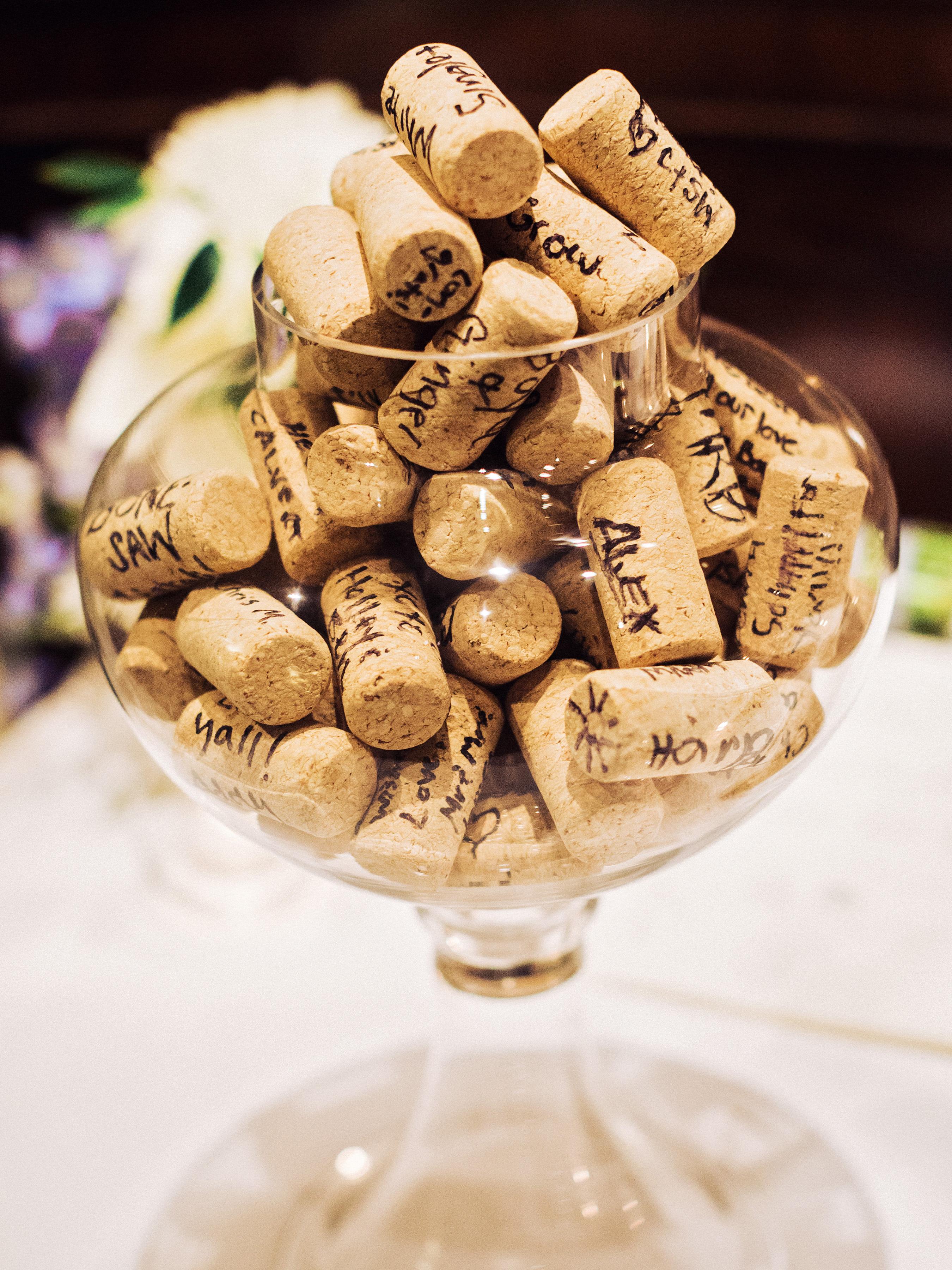 guest book wine cork signatures vase glass