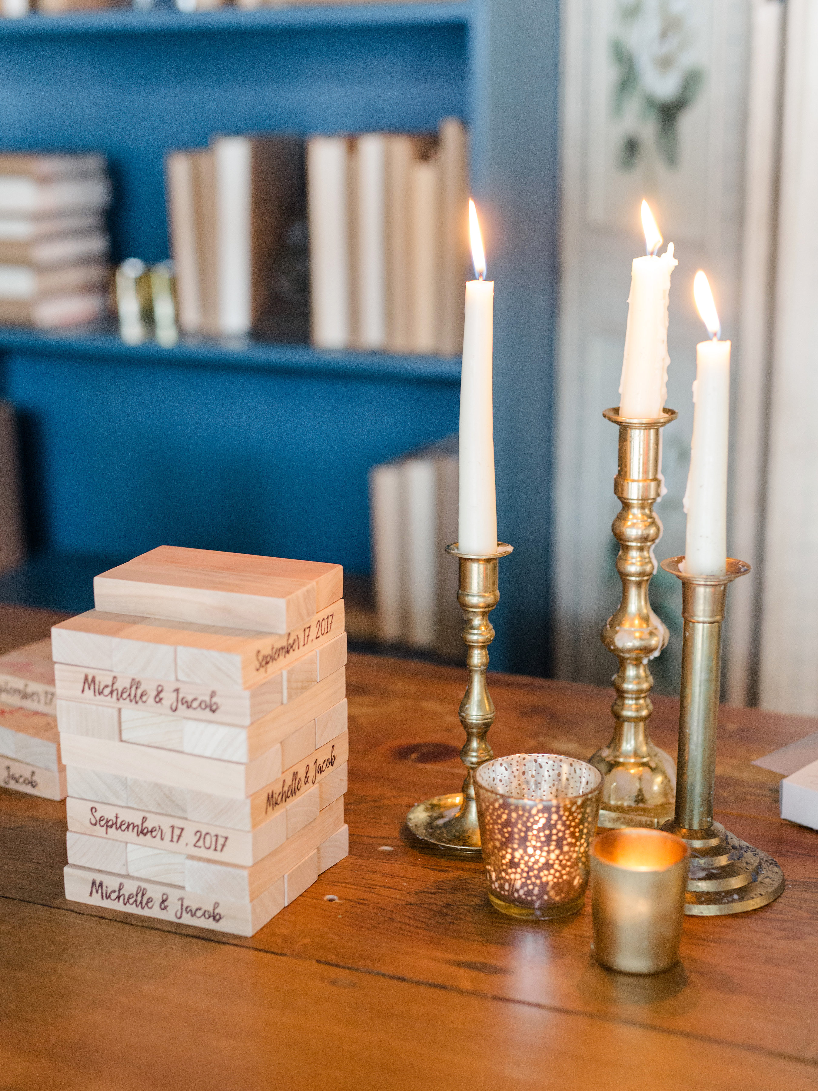 guest book jenga blocks candlesticks