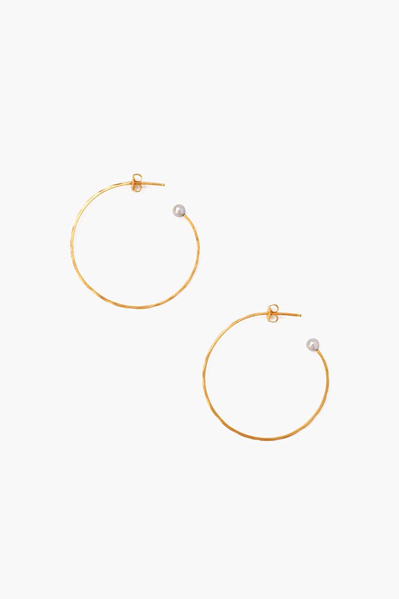 Chan Luu Hammered Hoop Earrings with Pearls