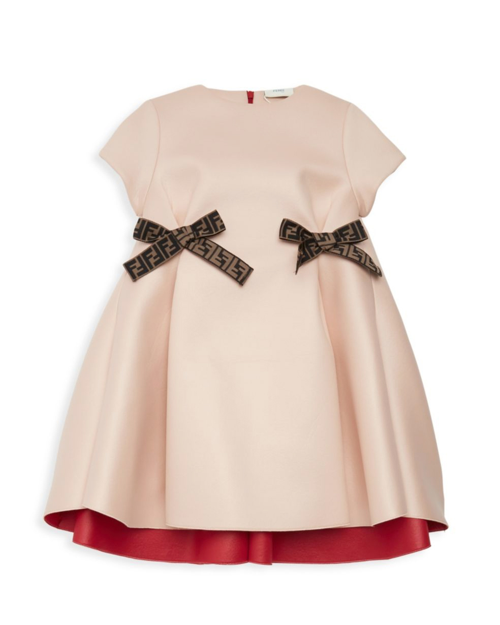 winter flower girl short-sleeved rose gold dress with two fendi logo bows at waist