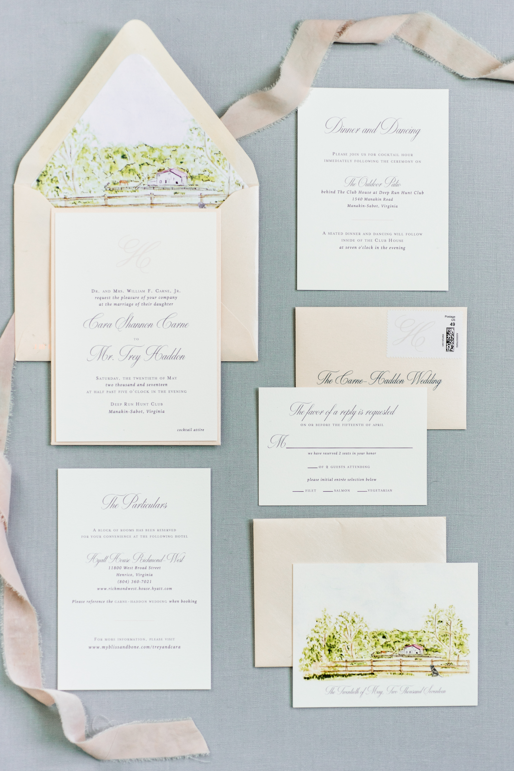 pastoral wedding invitation