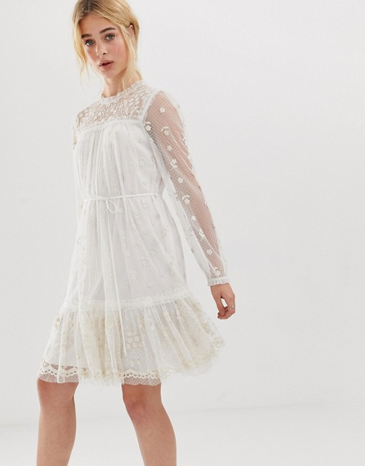 spring bridal shower dress white sheer long sleeved with embroidery