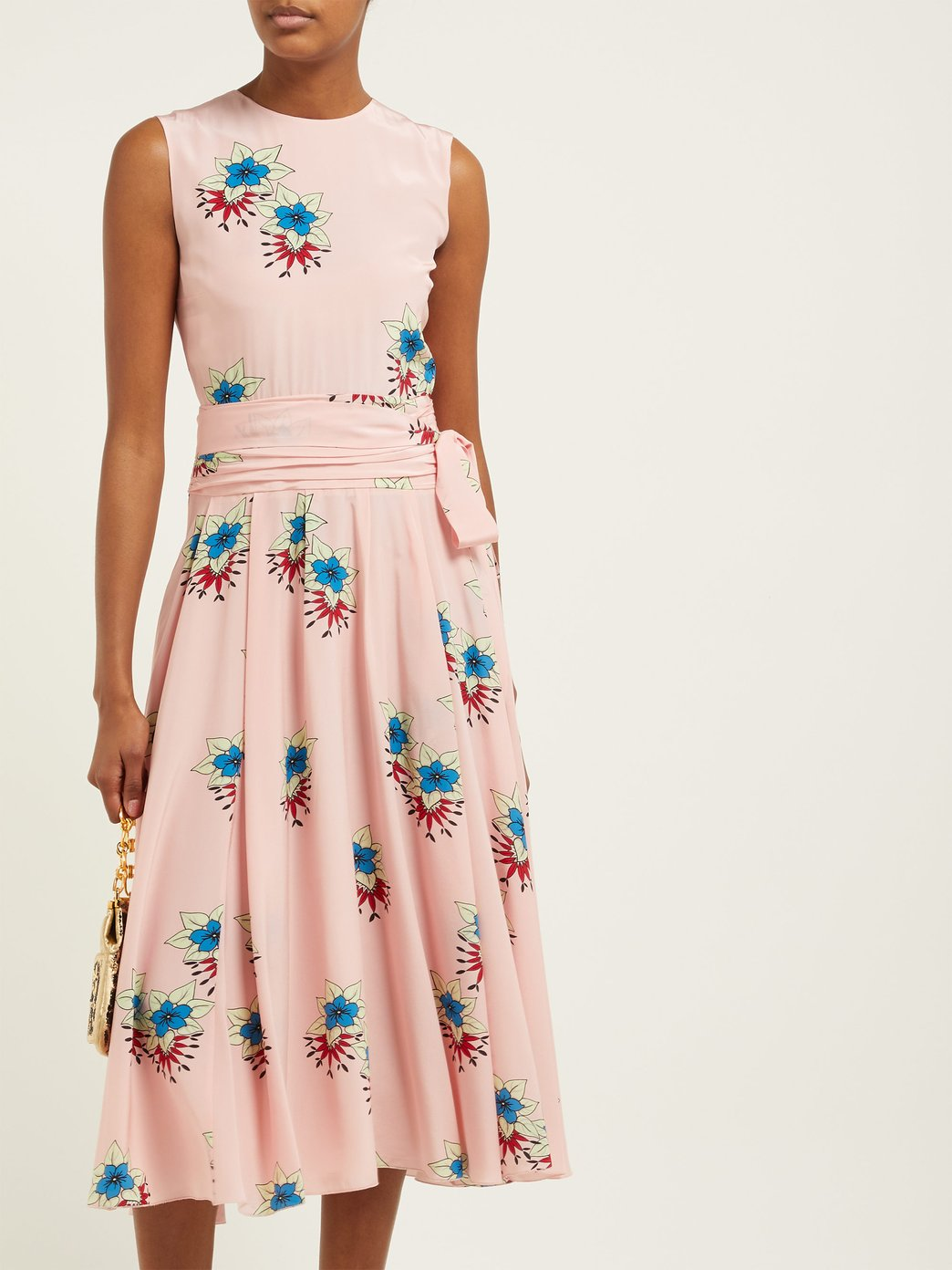 spring bridal shower dress floral print silk midi with bow