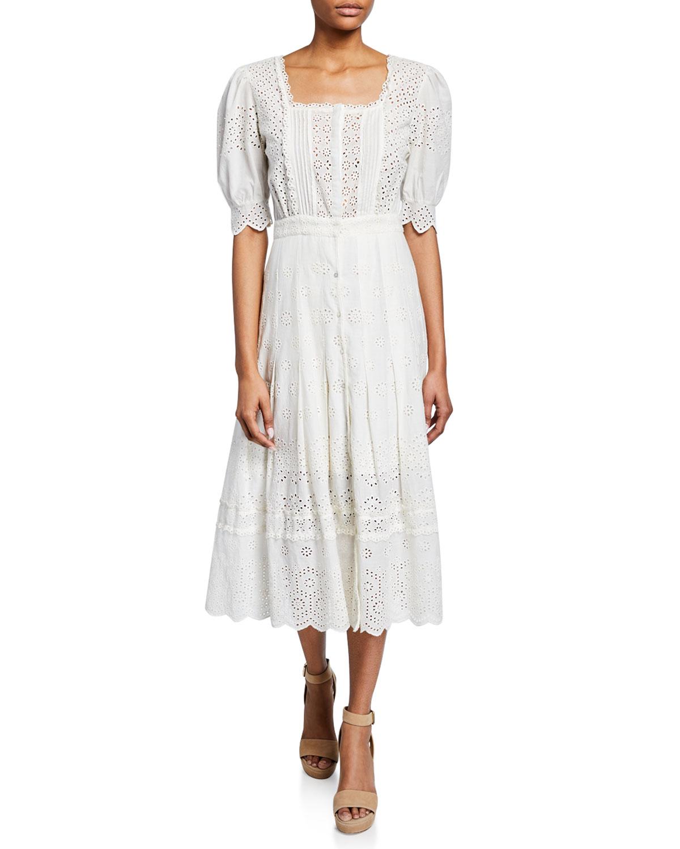 spring bridal shower dress floral white eyelet midi