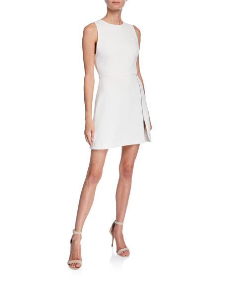 spring bridal shower dress white side slit a-line