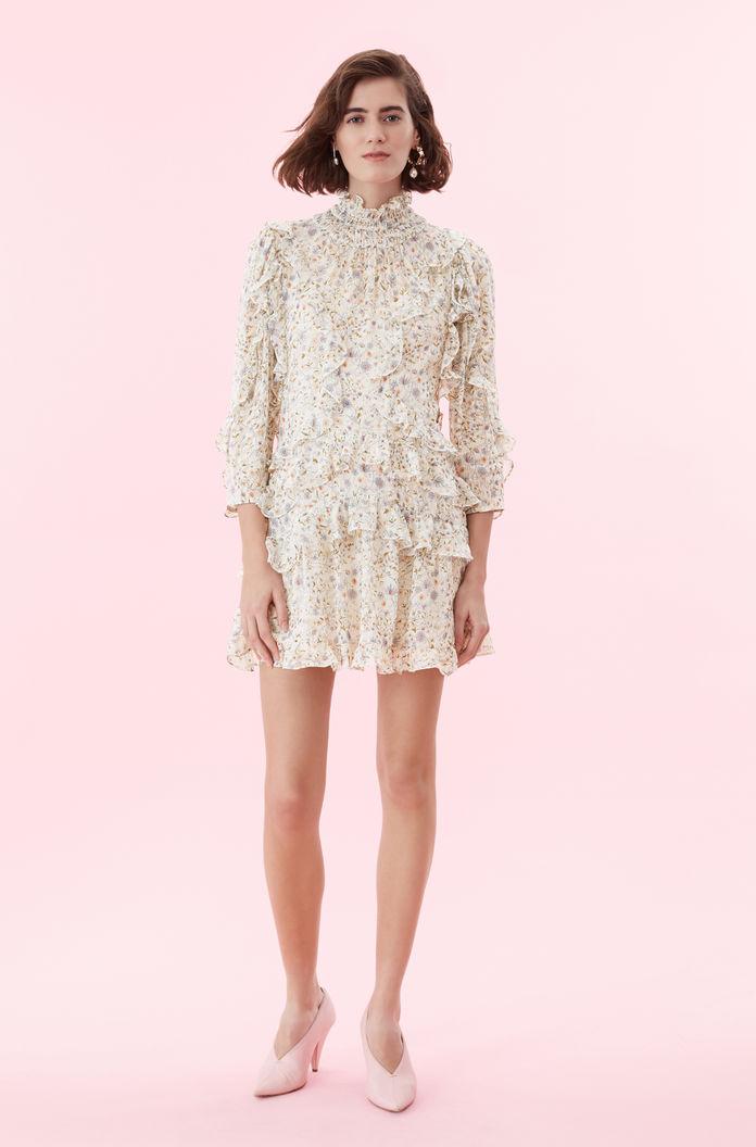 spring bridal shower dress floral print long sleeve ruffled dress