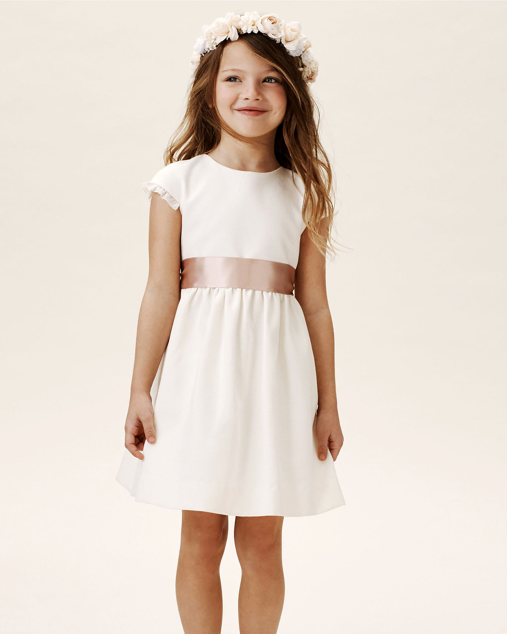 summer flower girl outfit white dress with ribbon