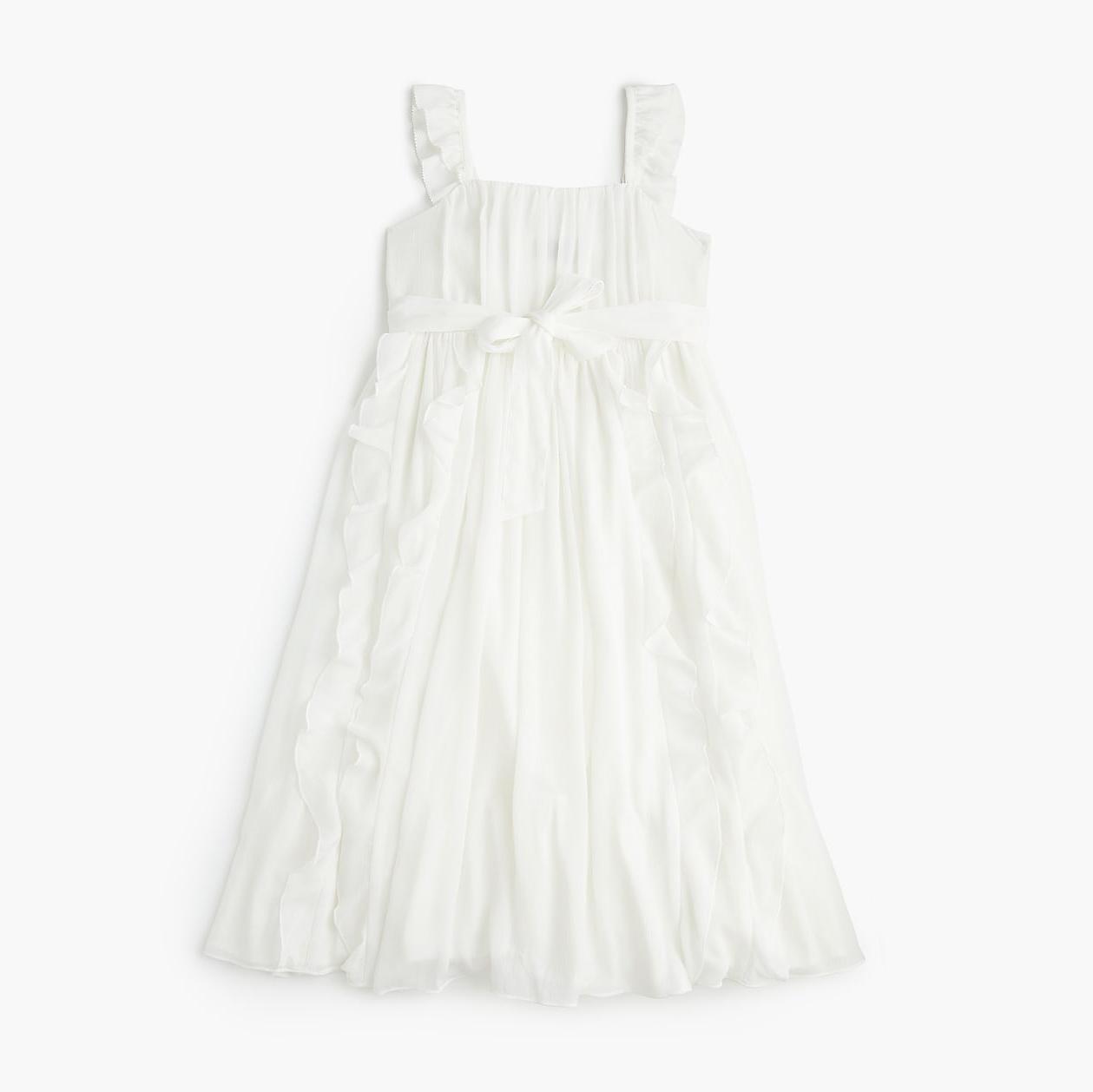 summer flower girl outfit white bow dress
