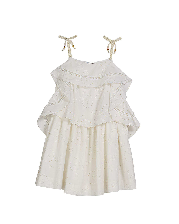 summer flower girl outfit white frills dress