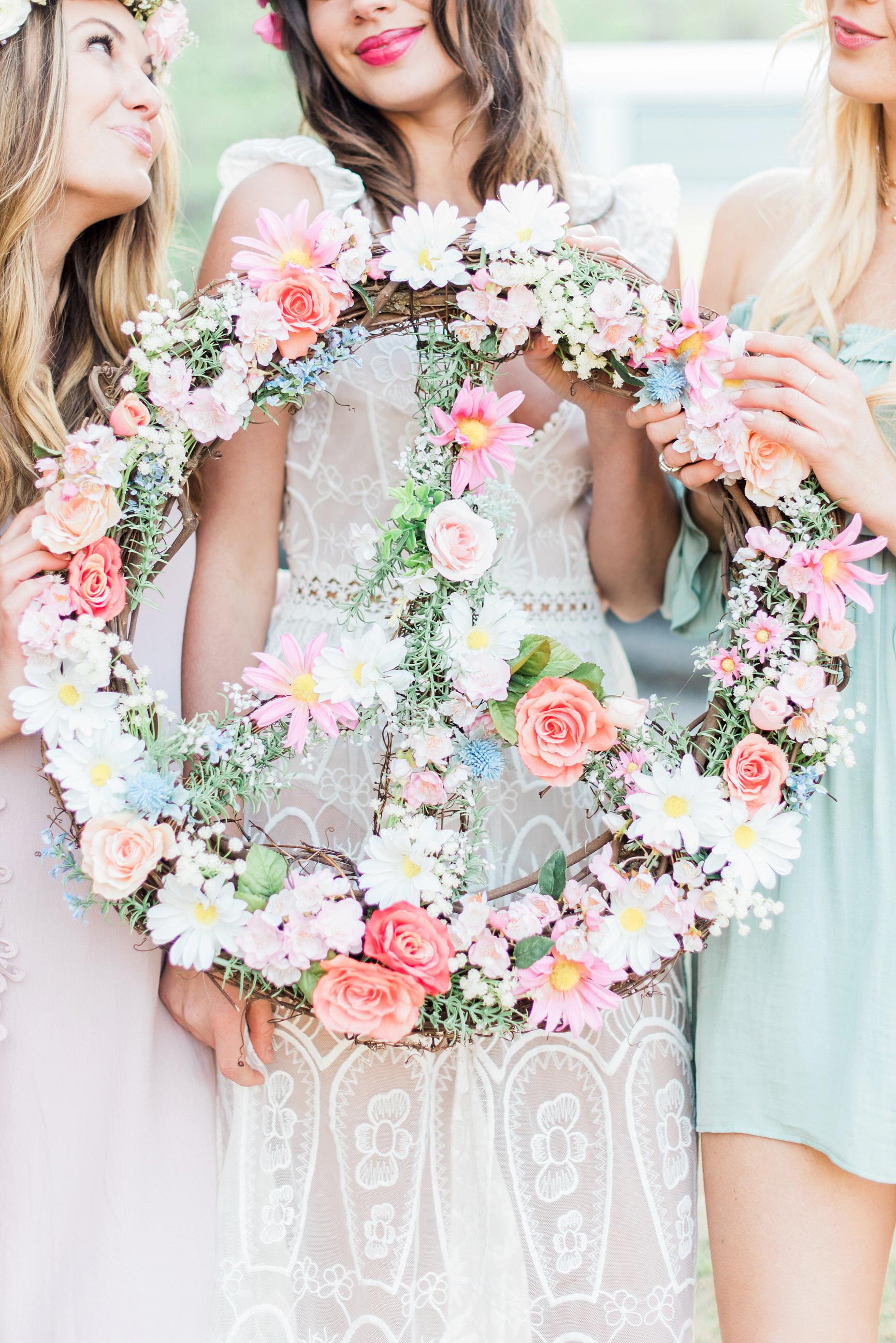 peace sign wreath bachelorette party decor