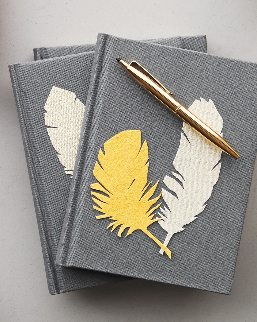 Fabric-Stickered Notebooks