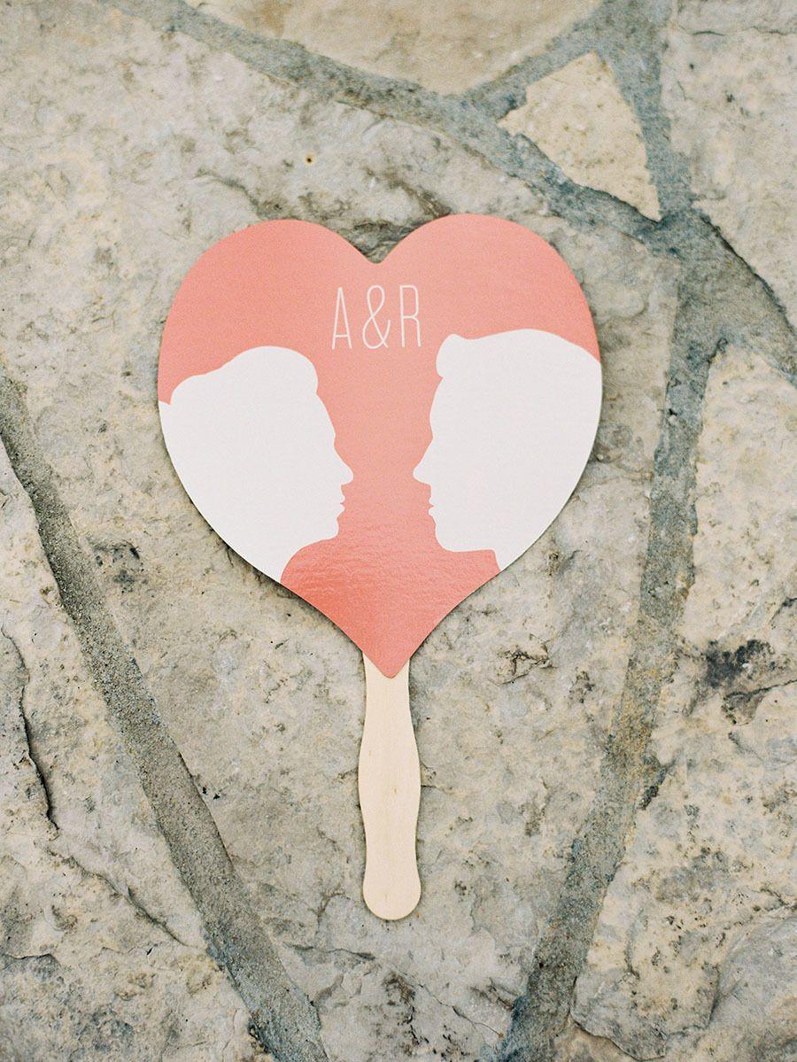 heart-shaped fan with silhouette