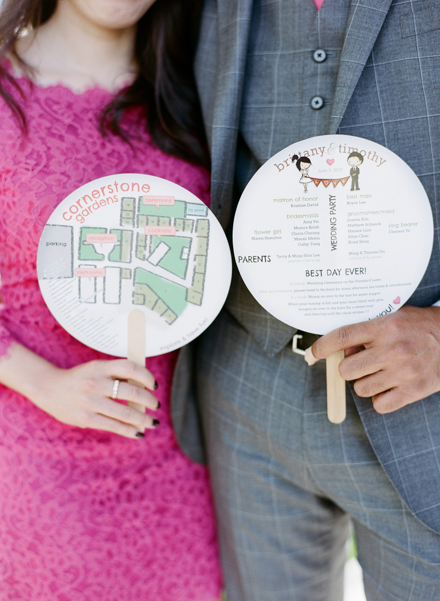 circular fan wedding programs with map
