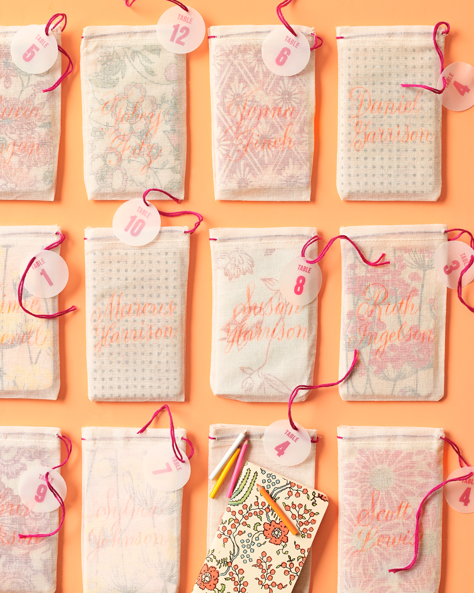 Table Number Favor Pouches
