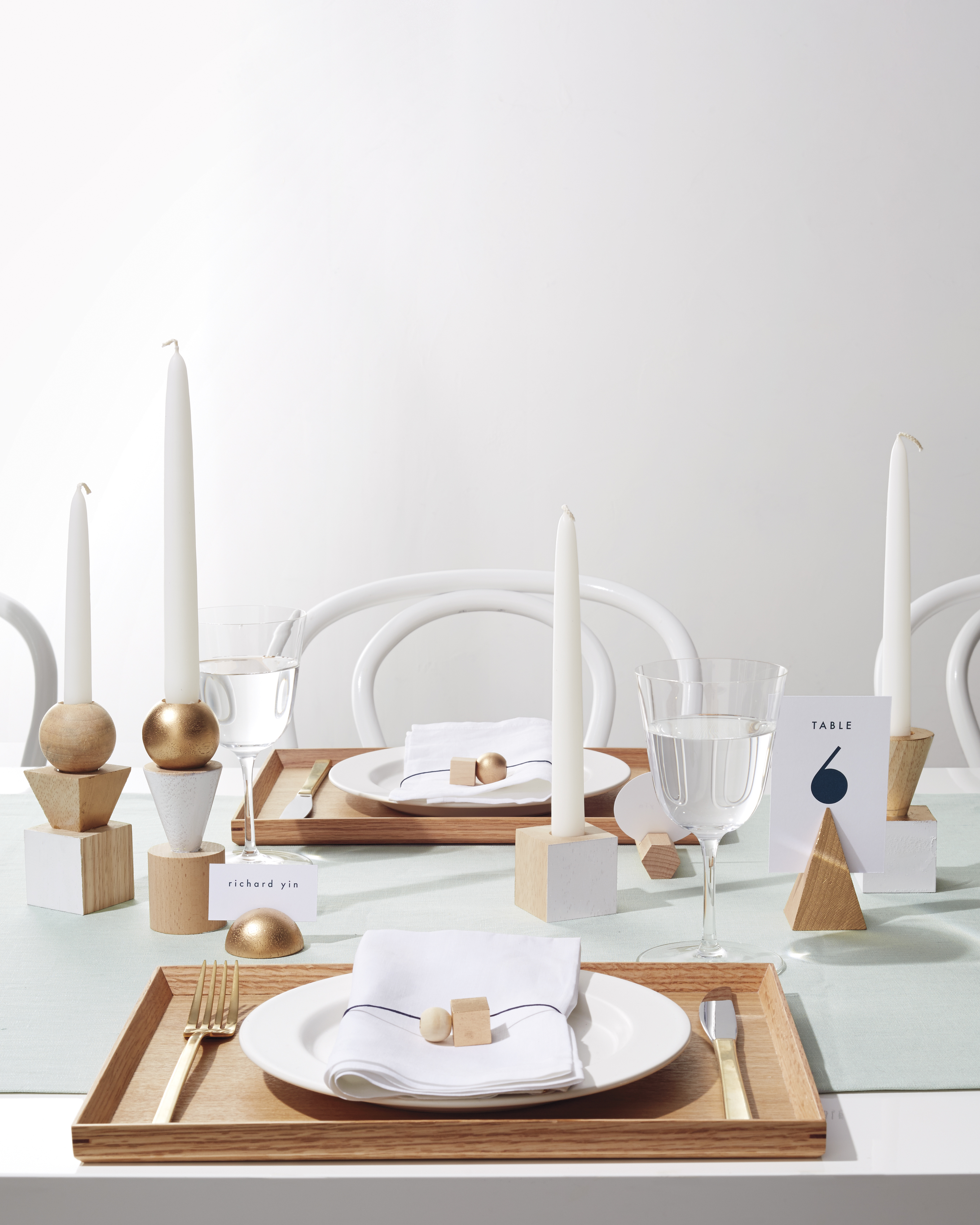 Geometric Wooden Candleholders